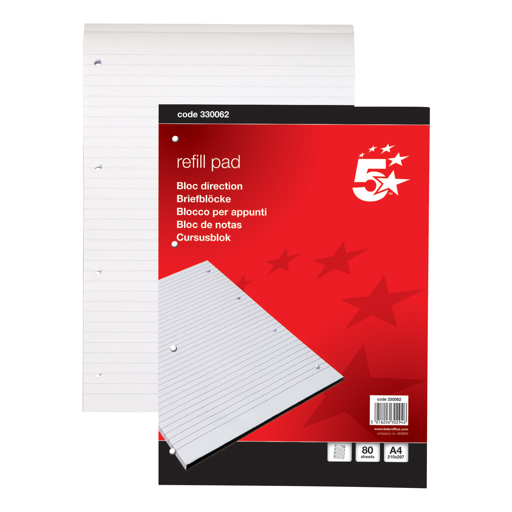 5 Star Office Refill Pad Headbound 60gsm Ruled Punched 4 Holes 160pp A4 Red Pack 10