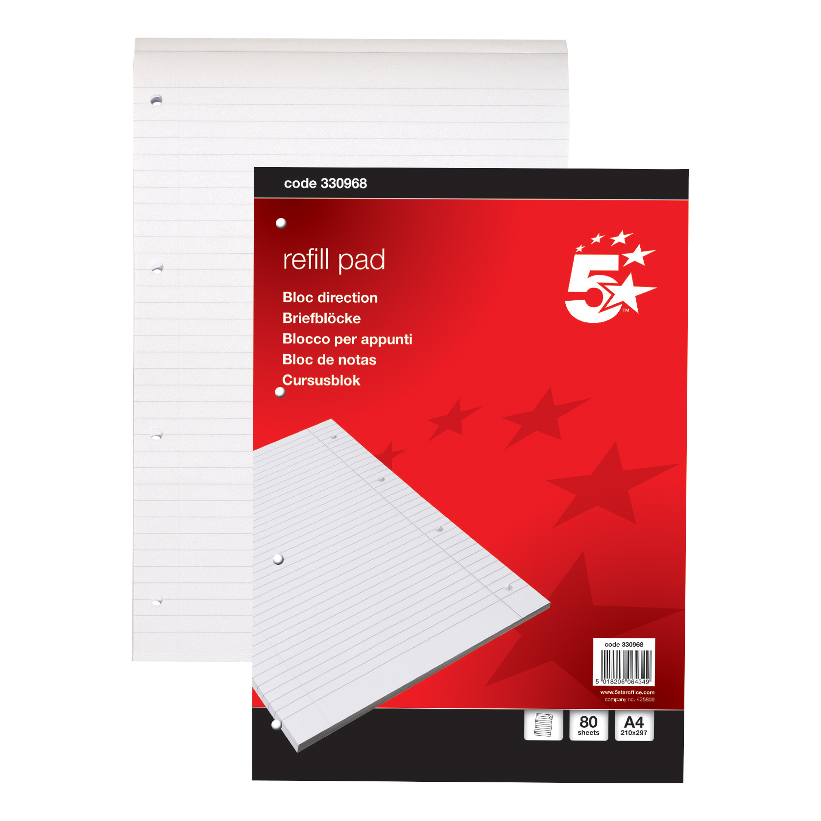 5 Star Office Refill Pad Headbound 60gsm Ruled Margin Punched 4 Holes 160pp A4 Red Pack 10