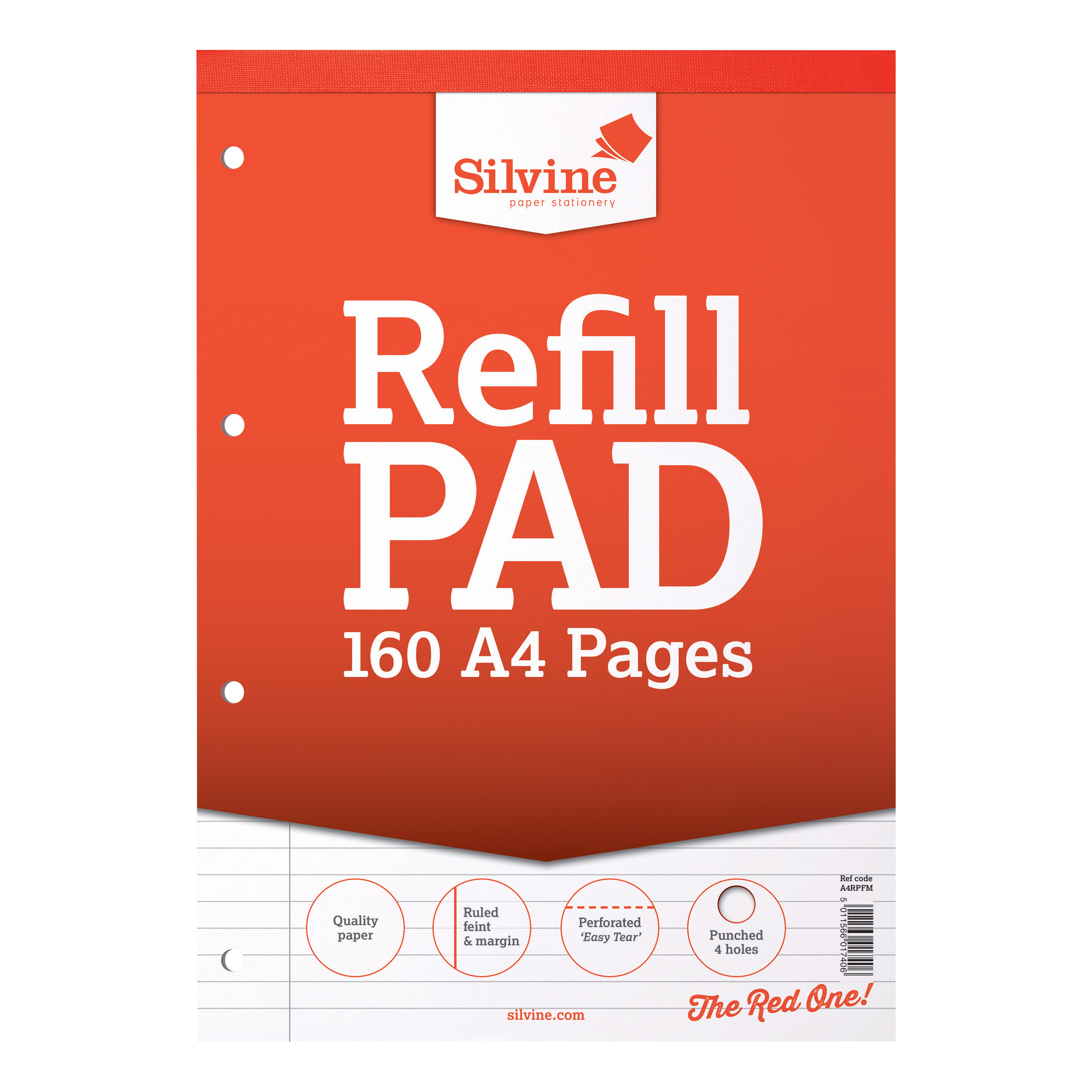 Silvine Refill Pad Headbound 75gsm Ruled Margin Perf Punched 4 Holes 160pp A4 Red Ref A4RPFM [Pack 6]
