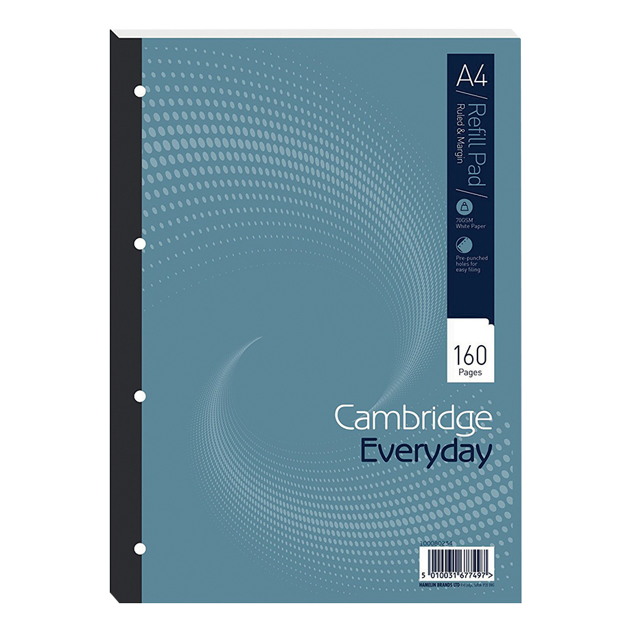 Cambridge Everyday Refill Pad Sbd 70gsm Ruled Margin Punched 4 Holes 160pp A4 Blue Ref 100080234 Pack 5
