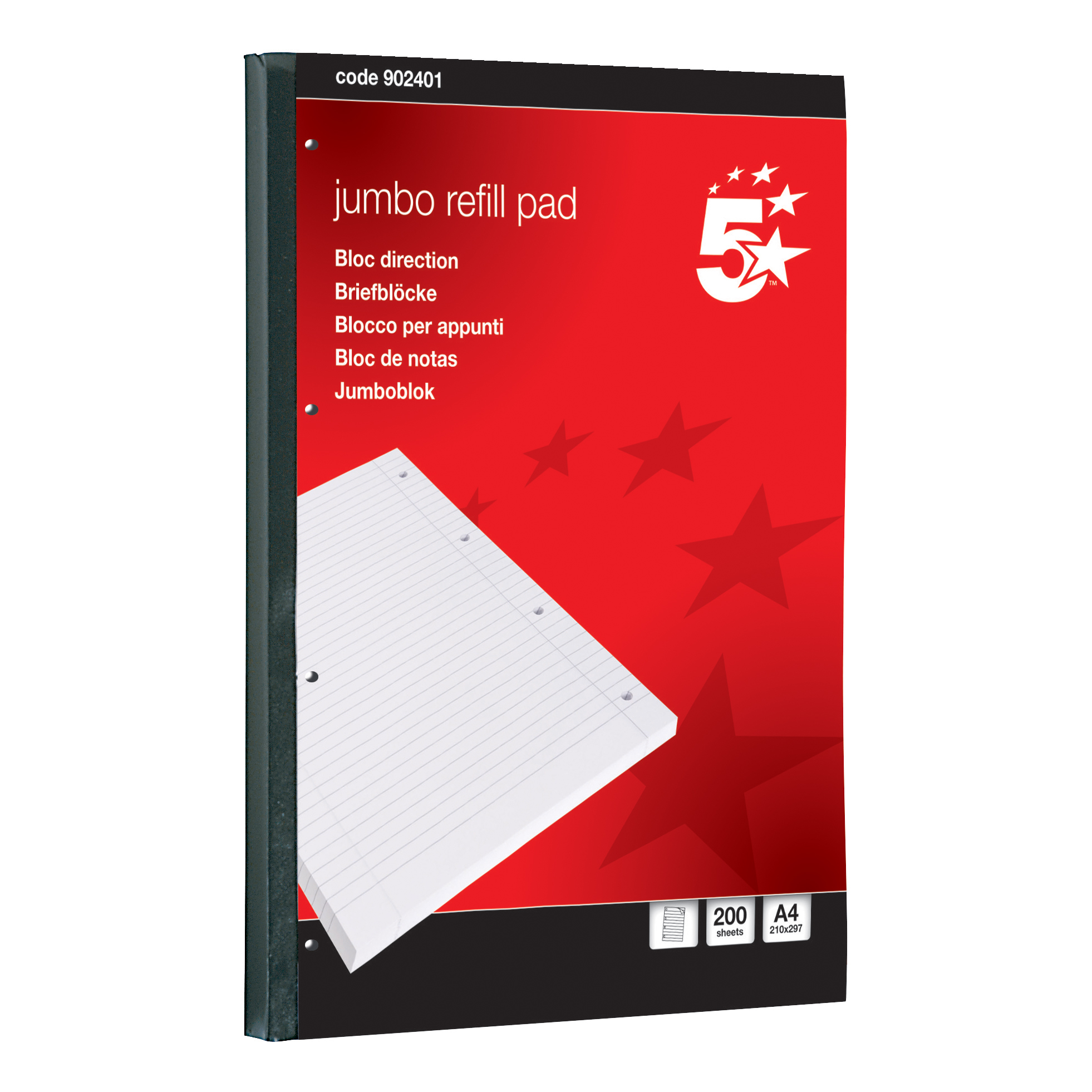 5 Star Office Jumbo Refill Pad Sidebound 60gsm Ruled Margin Punched 4 Holes 400pp A4 Red Pack 4