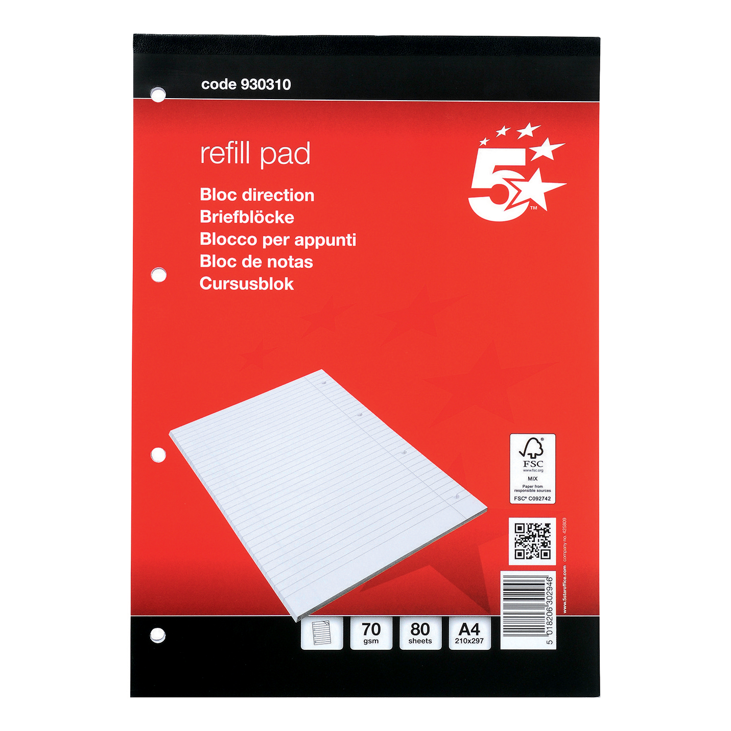 Refill Pads 5 Star Office FSC Refill Pad Headbound 70gsm Ruled Margin Punched 4 Holes 160pp A4 Red Pack 10