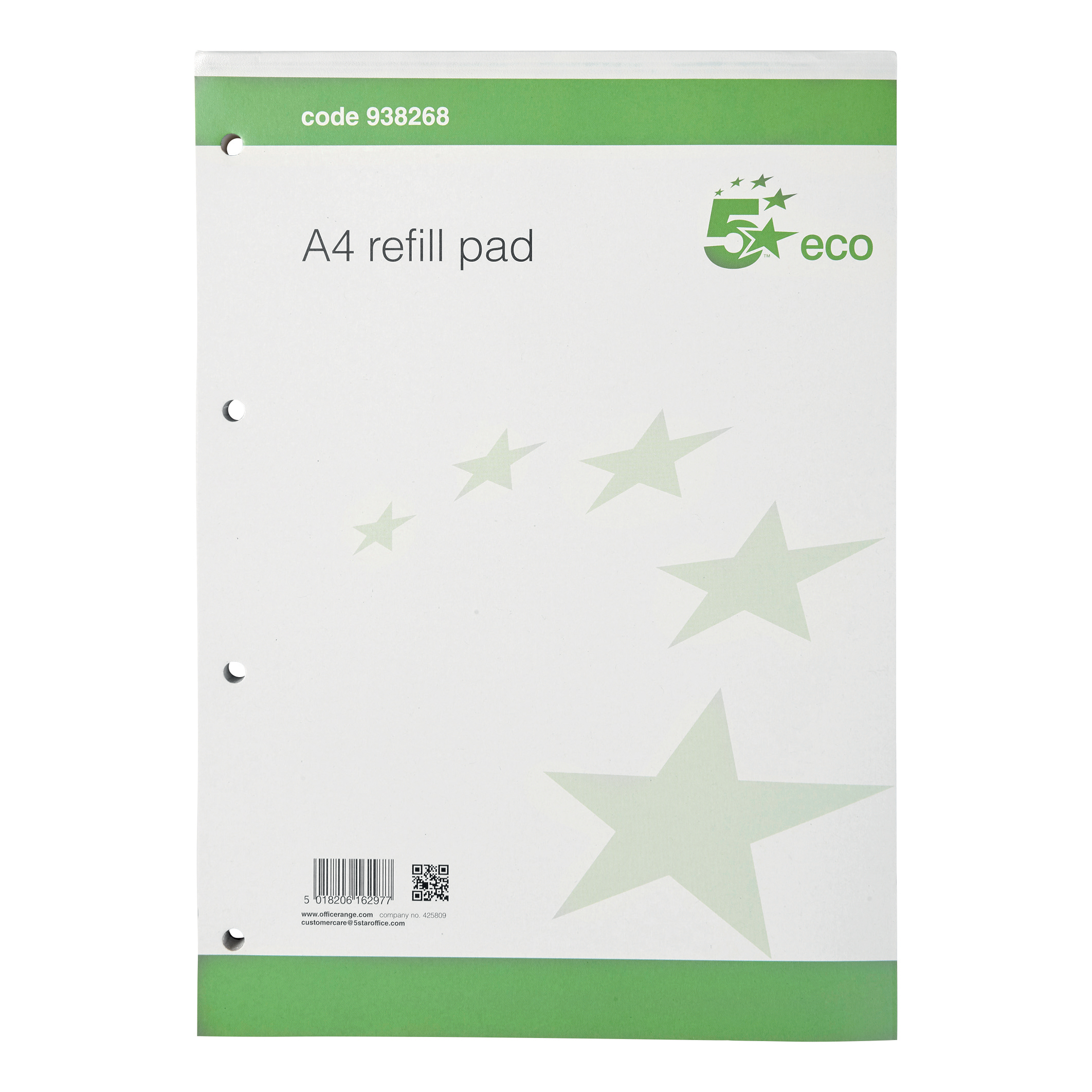 5 Star Eco Refill Pad Headbound 70gsm Ruled Margin Punched 4 Holes 160pp A4 Green Pack 10