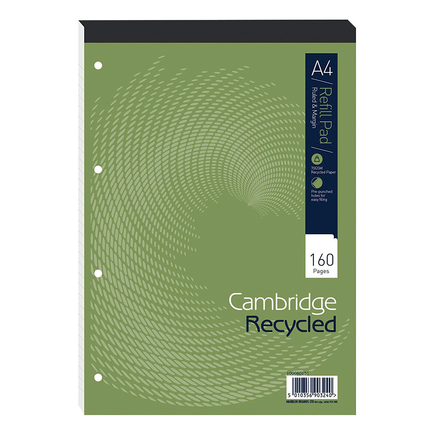 Cambridge Recycled Refill Pad Hbd 70gsm Ruled Margin Punch 4 Holes 160pp A4 Green Ref 100080151 [Pack 5]