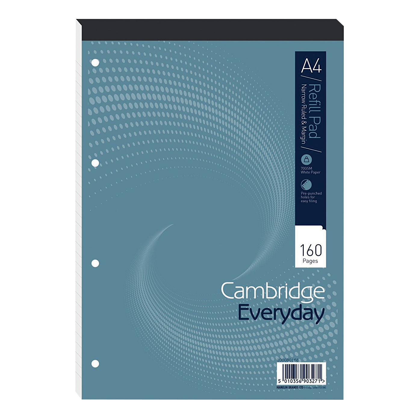 Cambridge Refill Pad Hbd 70gsm Narrow Ruled Margin Punched 4 Holes 160pp A4 Blue Ref 100080168 [Pack 5]