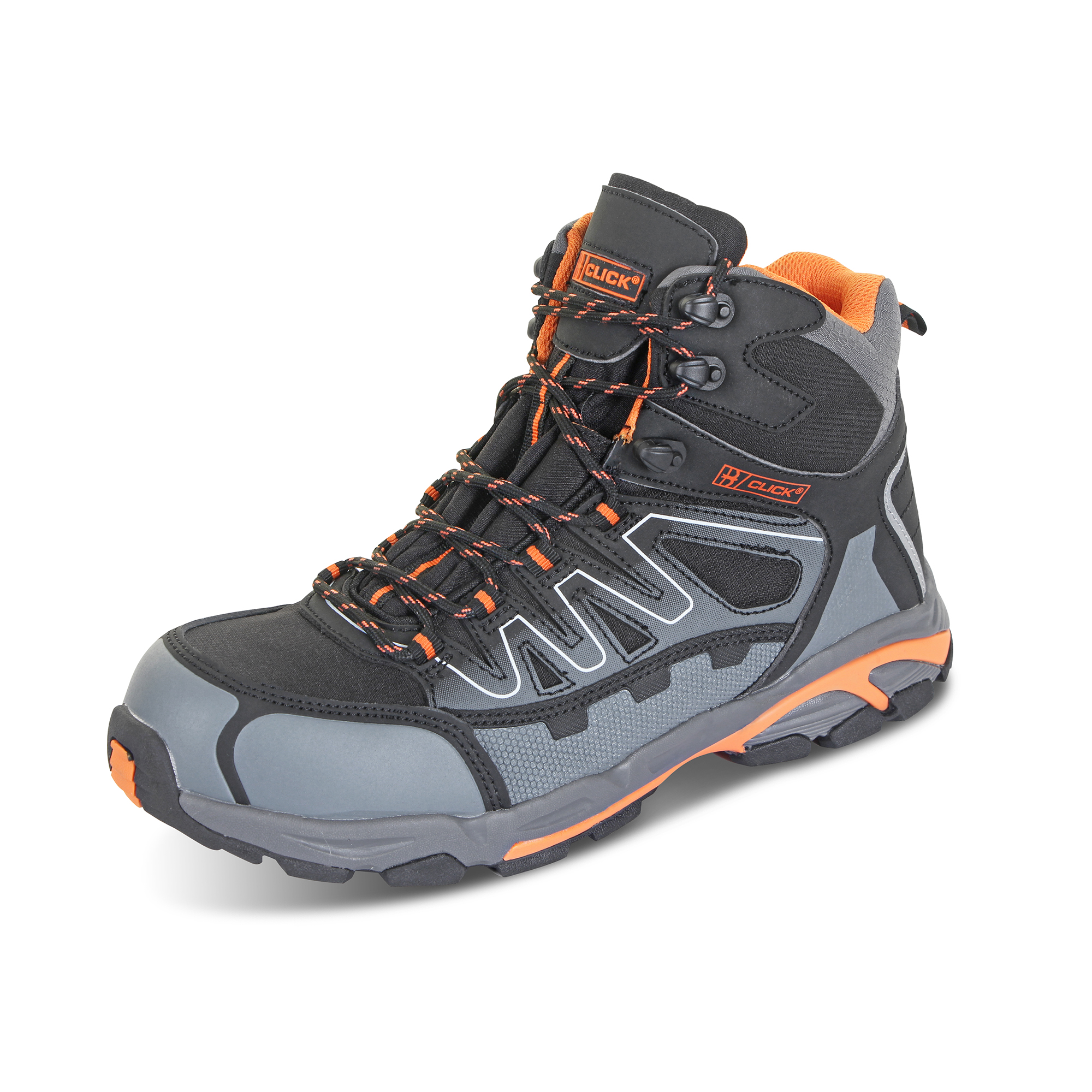 Limitless Click Footwear Leather S3 Hiker Boot Composite Toe Size 7 Black/Grey Ref CF3507 *Up to 3 Day Leadtime*