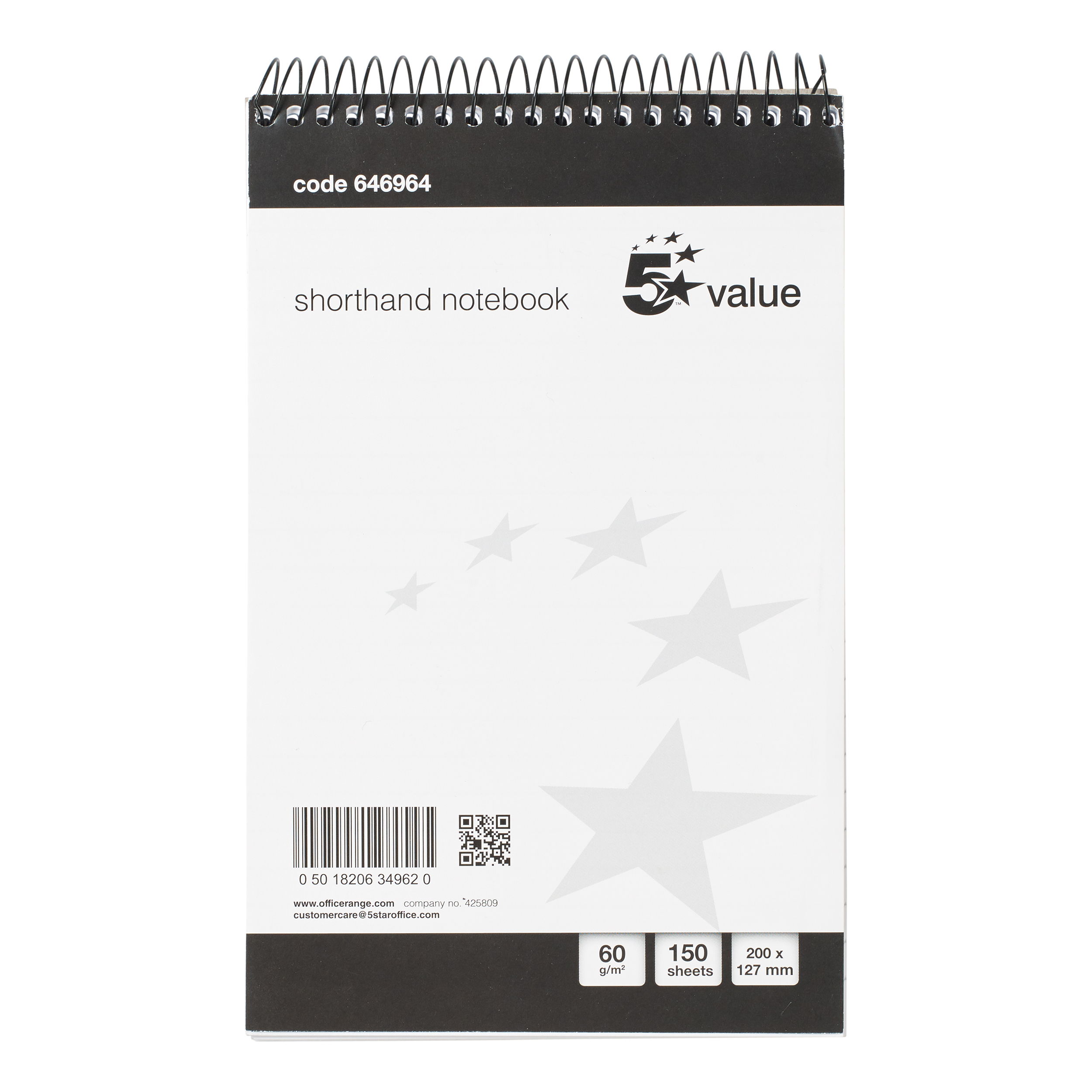 5 Star Value Shorthand Pad Wirebound 60gsm Ruled 150pp 127x200mm Blue/Red Pack 5