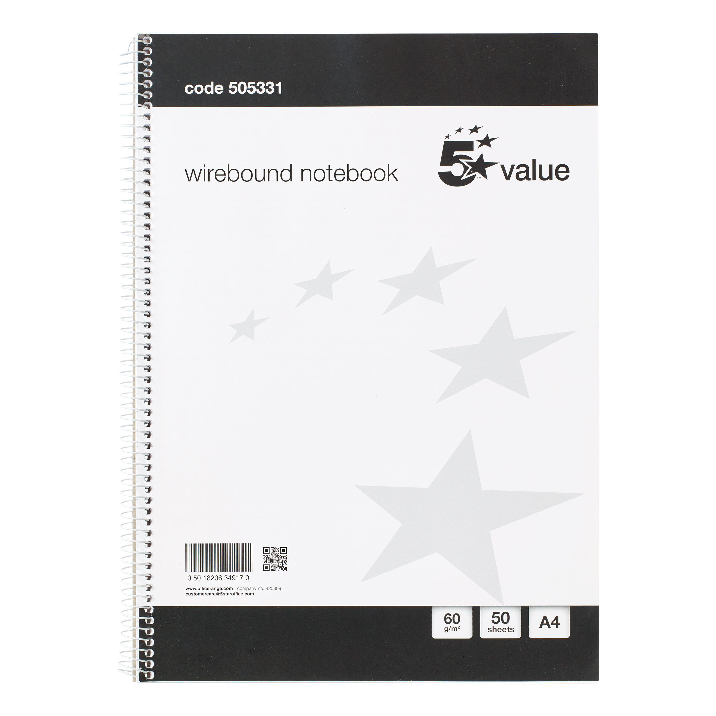 Spiral Note Books 5 Star Value Wirebound Notebook 60gsm Ruled 100 Pages A4 Pack 10