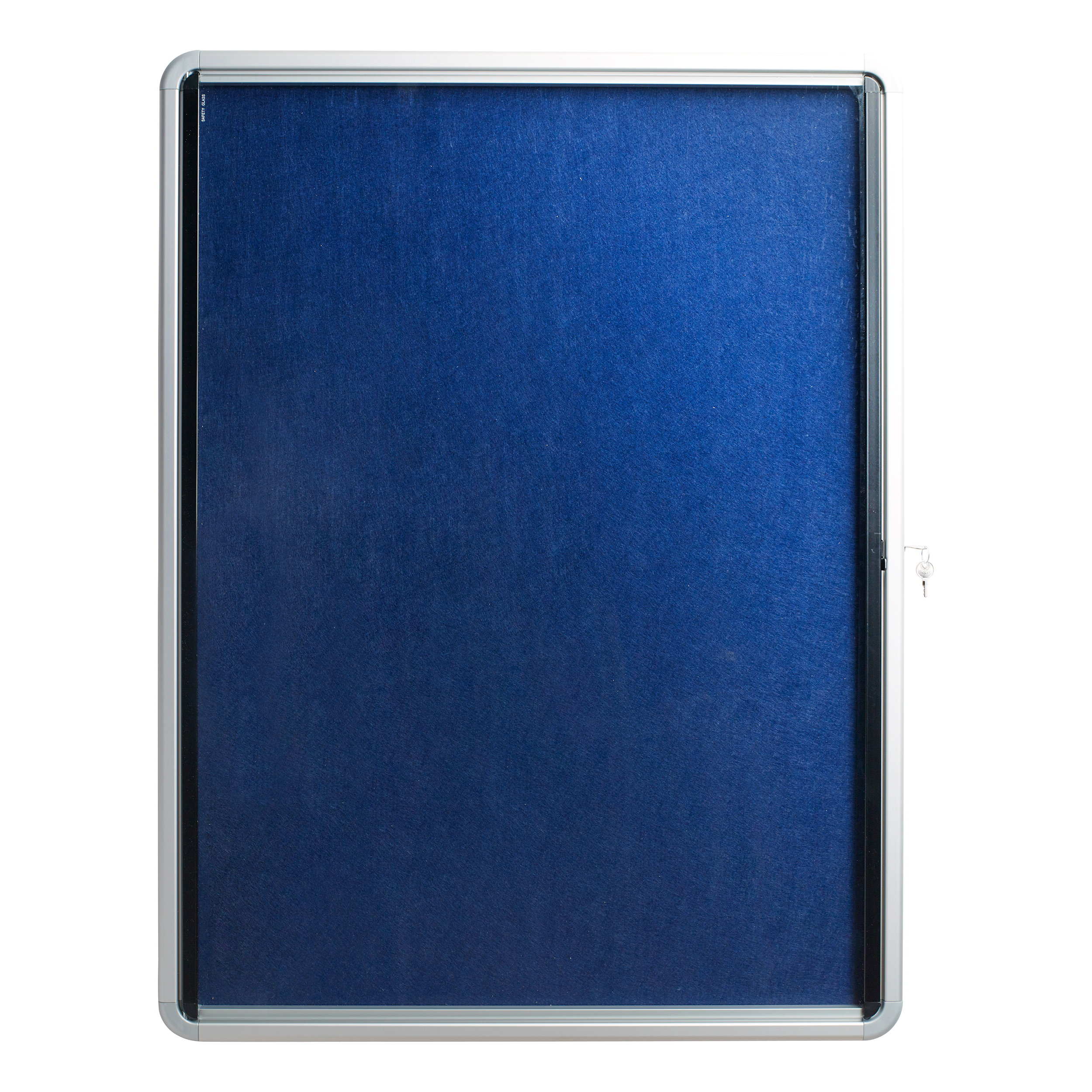 Glazed 5 Star Glazed Noticeboard with Hinged Door Locking Alumin Frame Blue Felt 750x10000mm