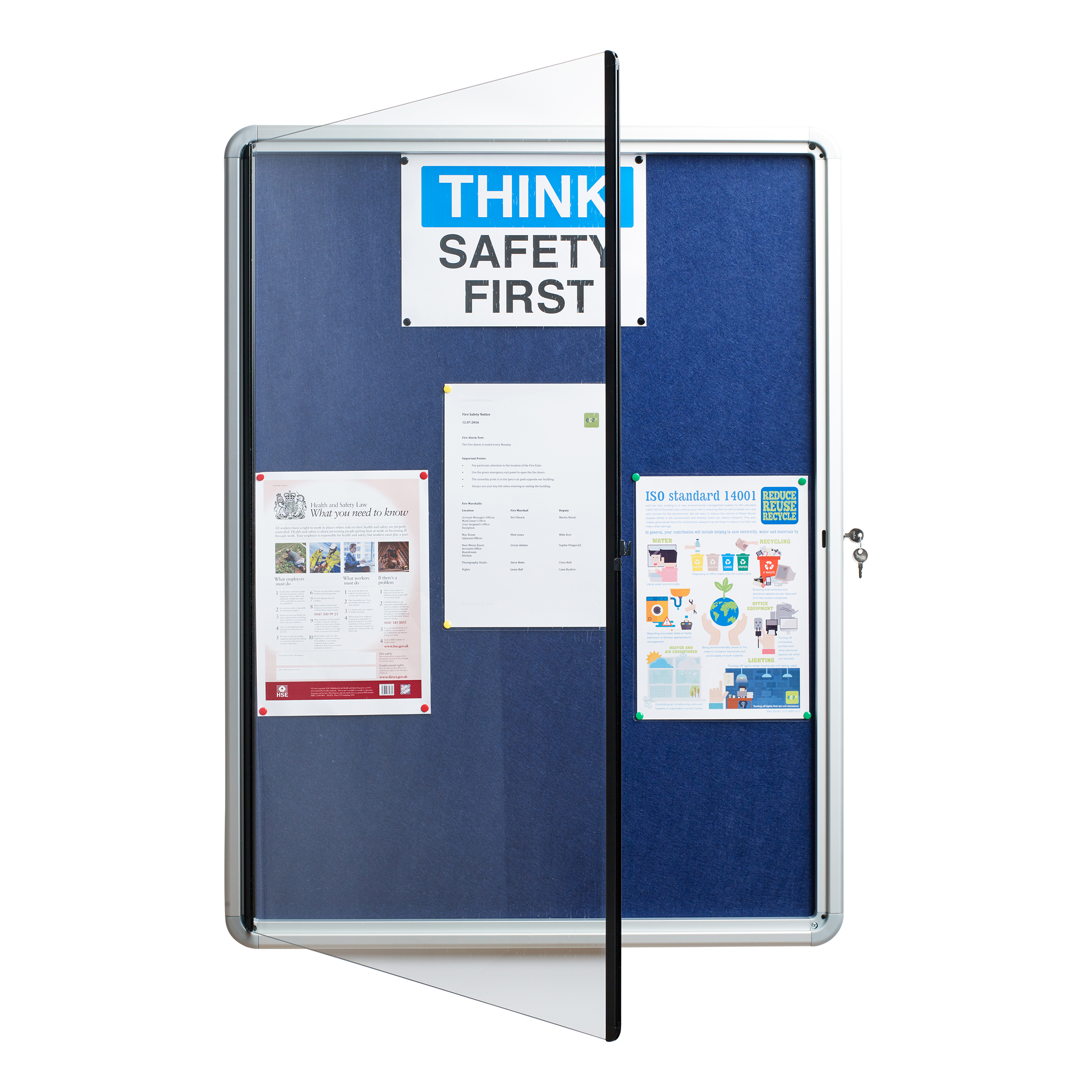Image for 5 Star Glazed Noticeboard with Hinged Door Locking Alumin Frame Blue Felt 750x10000mm