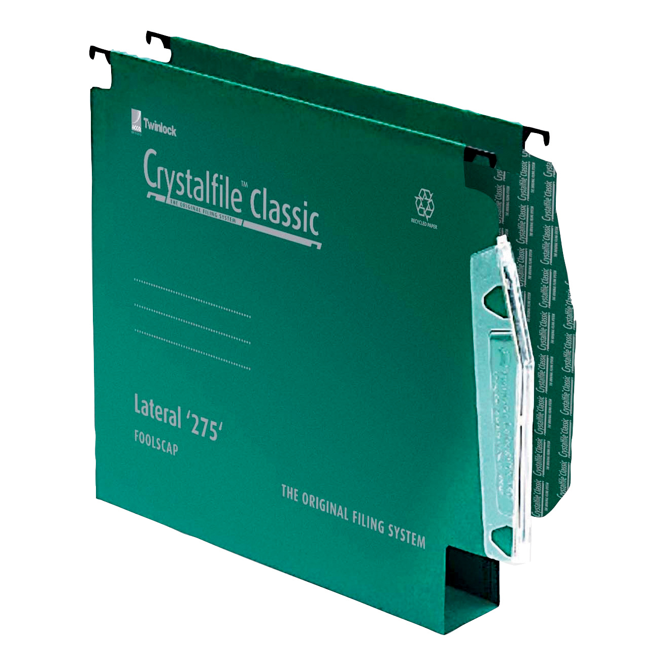 Rexel Crystalfile Classic Linking Lateral File Manilla 50mm Wide-base Green 230gsm A4 Ref 71762 Pack 50