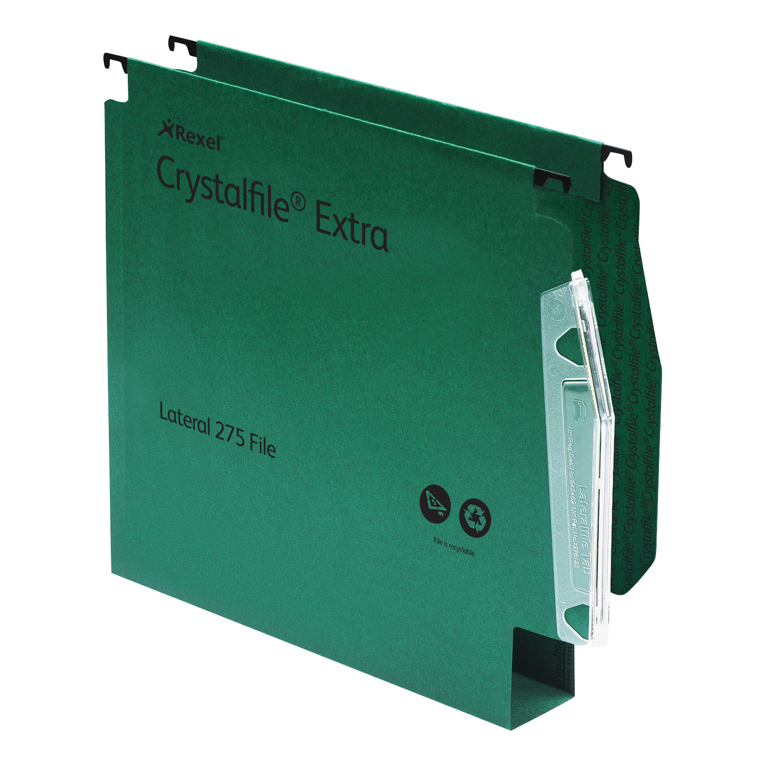 Lateral Files Rexel Crystalfile Extra Lateral File Polypropylene 50mm Wide-base A4 Green Ref 71763 Pack 25