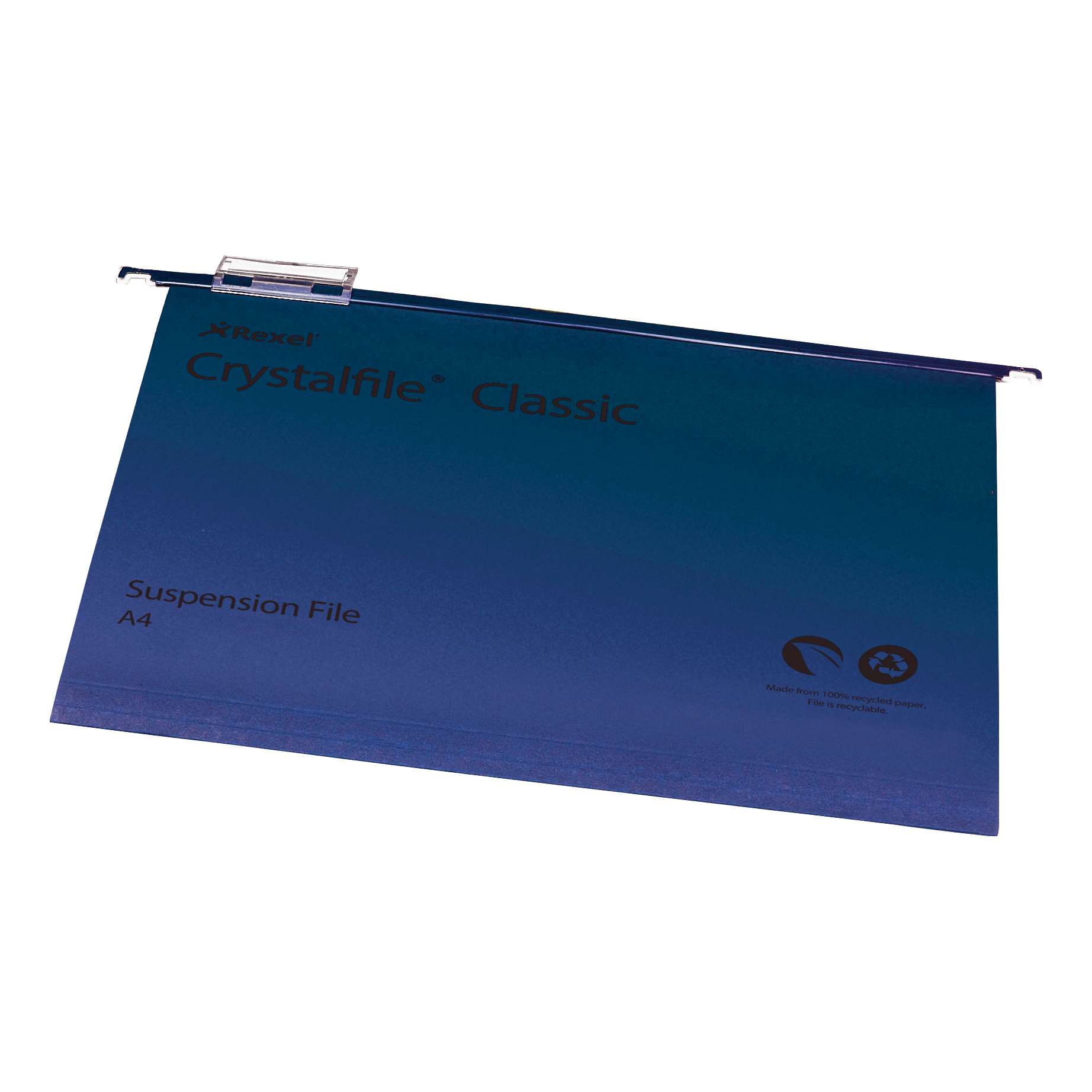 Rexel Crystalfile Classic Suspension File Manilla 15mm V-base 230gsm A4 Blue Ref 78160 Pack 50
