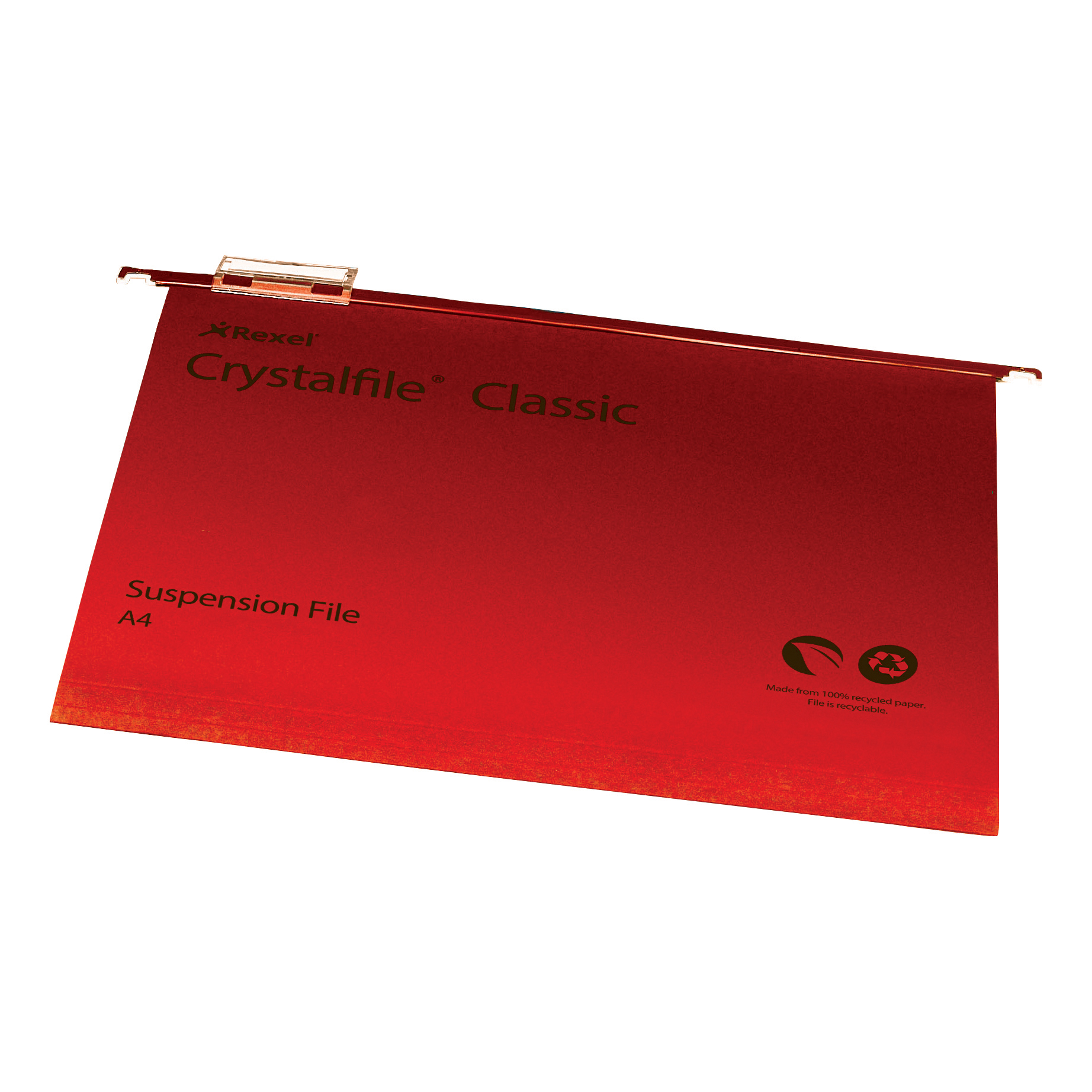 Rexel Crystalfile Classic Suspension File Manilla 15mm V-base 230gsm A4 Red Ref 78161 Pack 50