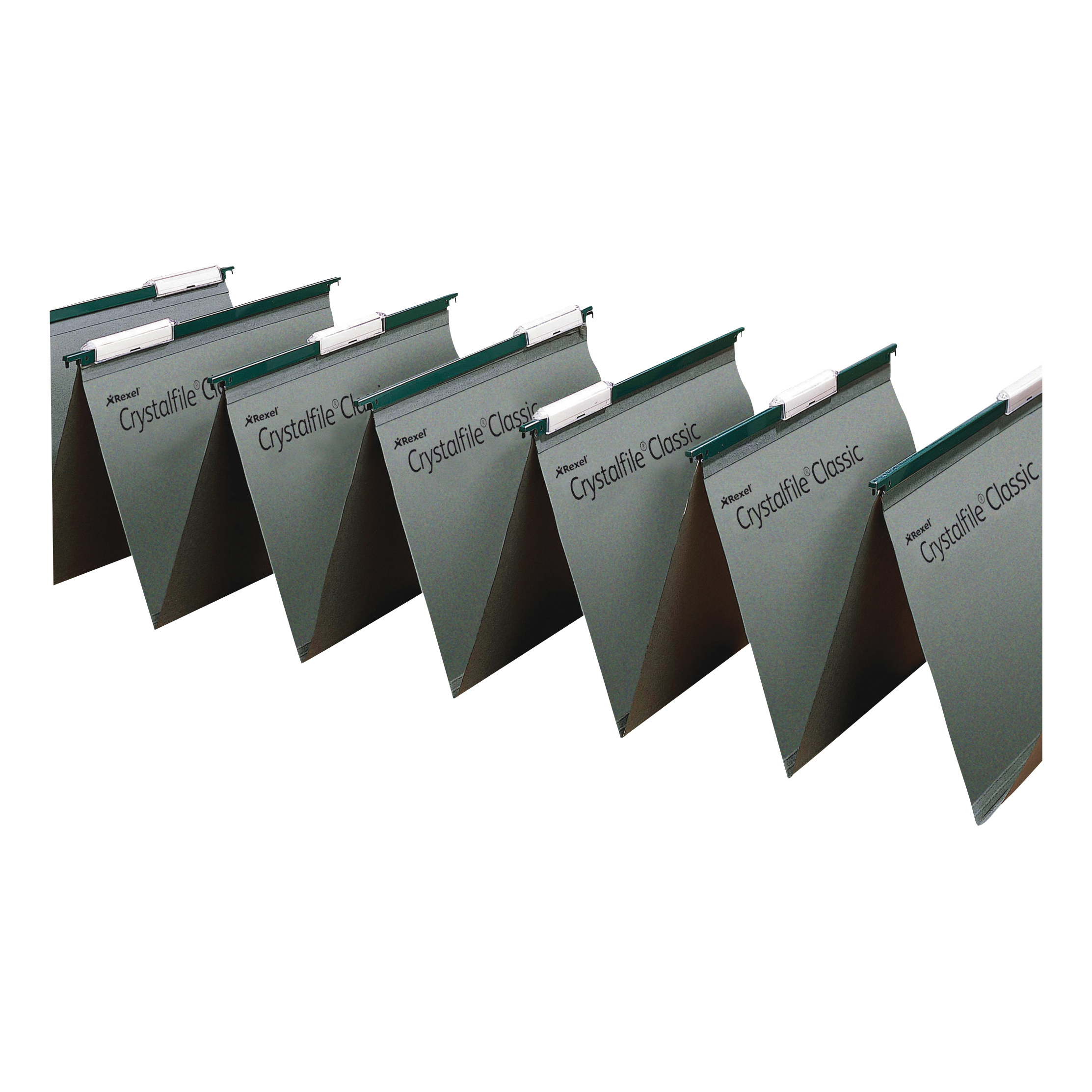 Suspension File Rexel Crystalfile Classic Linking Suspension File Manilla 15mm V-base Foolscap Green Ref 78650 Pack 50