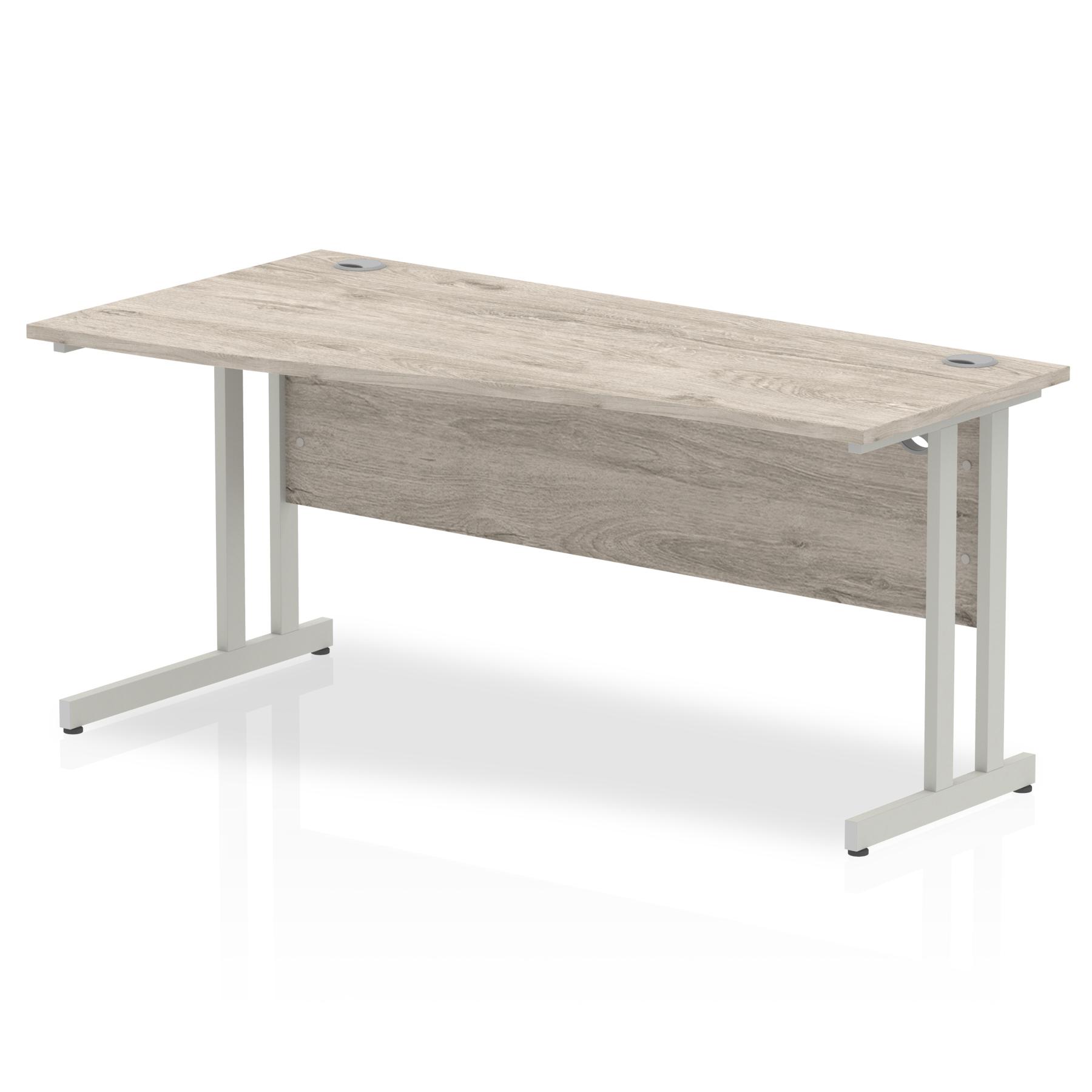 Trexus Wave Desk Left Hand Silver Cantilever Leg 1600mm Grey Oak Ref I003114