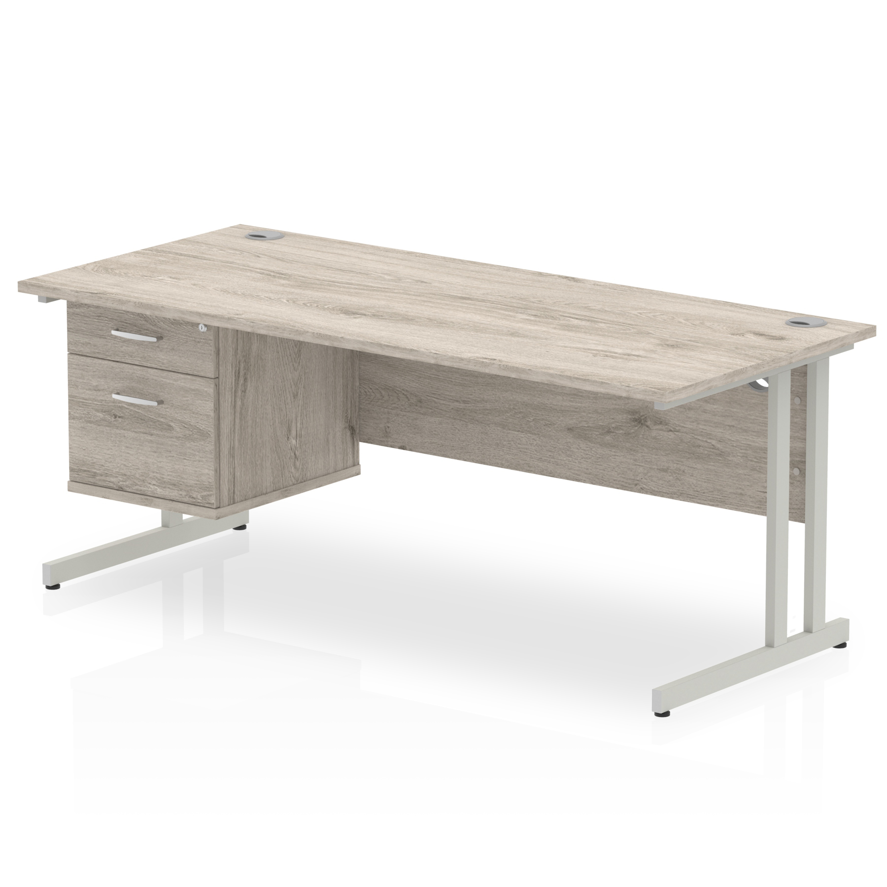 Trexus Rectangular Desk Silver Cantilever Leg 1800x800mm Fixed Ped 2 Drawers Grey Oak Ref I003511