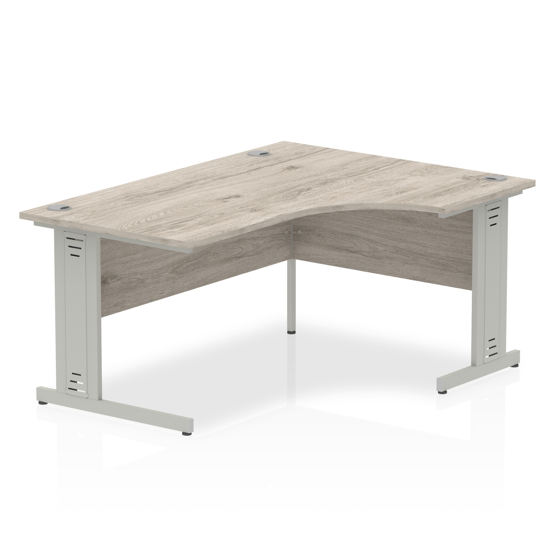 Trexus Radial Desk Right Hand Silver Cable Managed Leg 1600mm Grey Oak Ref I003146