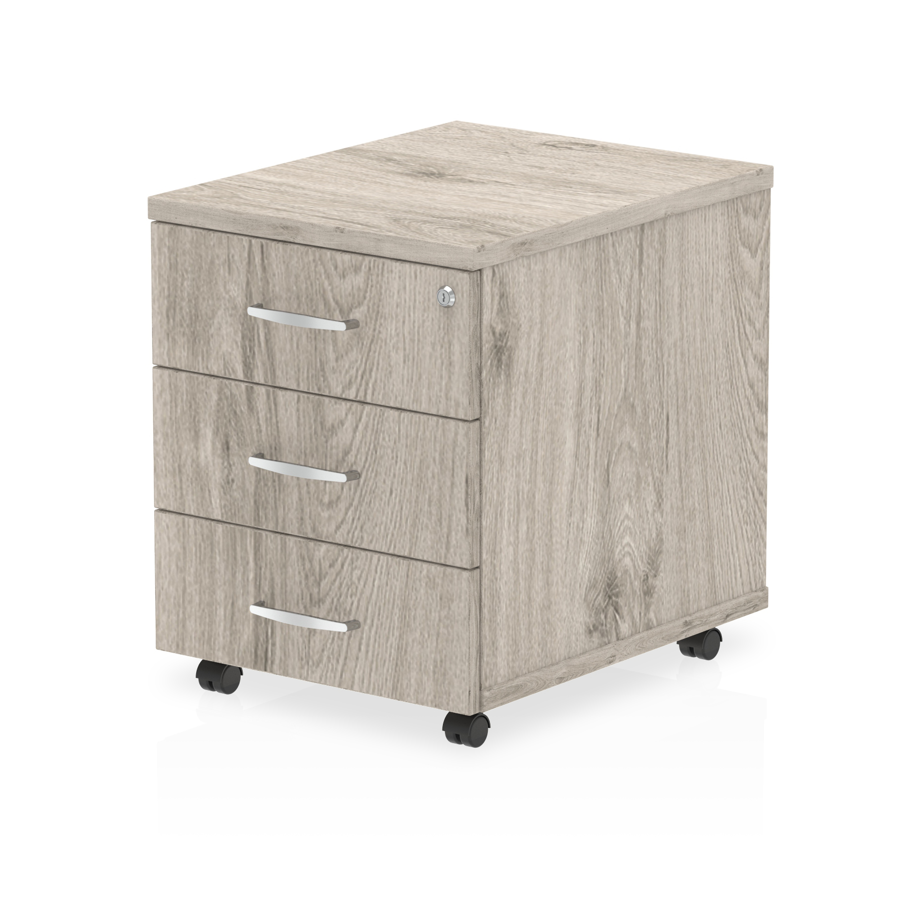 Pedestals Trexus 3 Drawer Mobile Pedestal 430x500x510mm Grey Oak Ref I003224