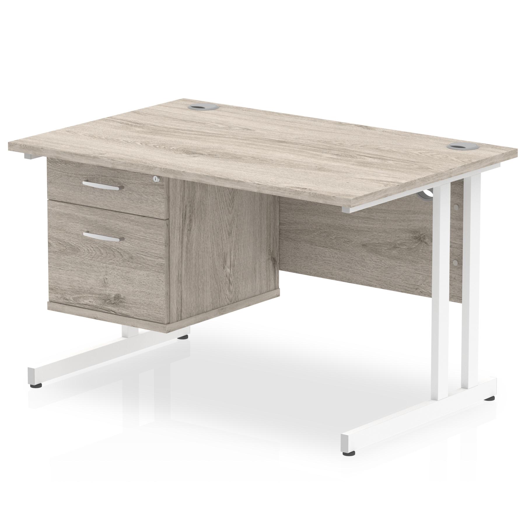 Trexus Rectangular Desk White Cantilever Leg 1200x800mm Fixed Ped 2 Drawers Grey Oak Ref I003446