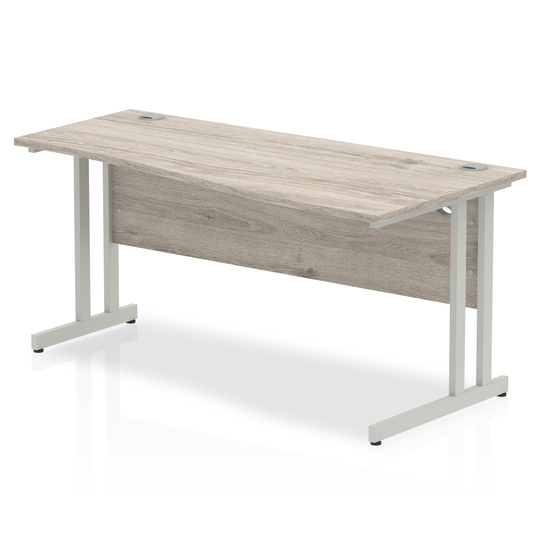 Trexus Wave Desk Right Hand Silver Cantilever Leg 1600mm Grey Oak Ref I003115