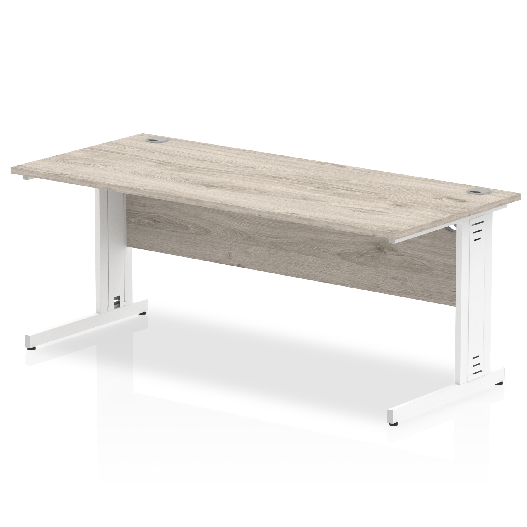 Trexus Rectangular Desk White Cable Managed Leg 1600x800mm Grey Oak Ref I003109