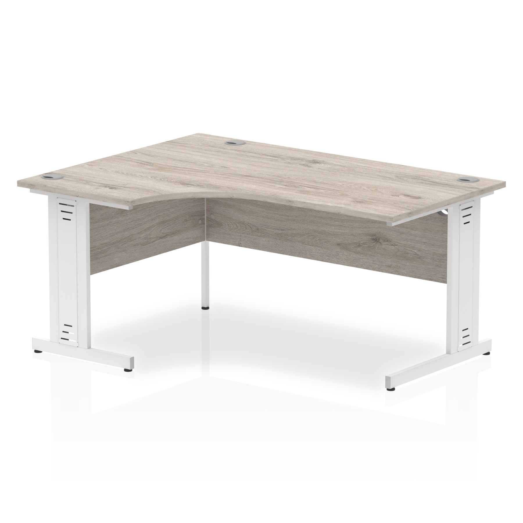 Trexus Radial Desk Left Hand White Cable Managed Leg 1800mm Grey Oak Ref I003534