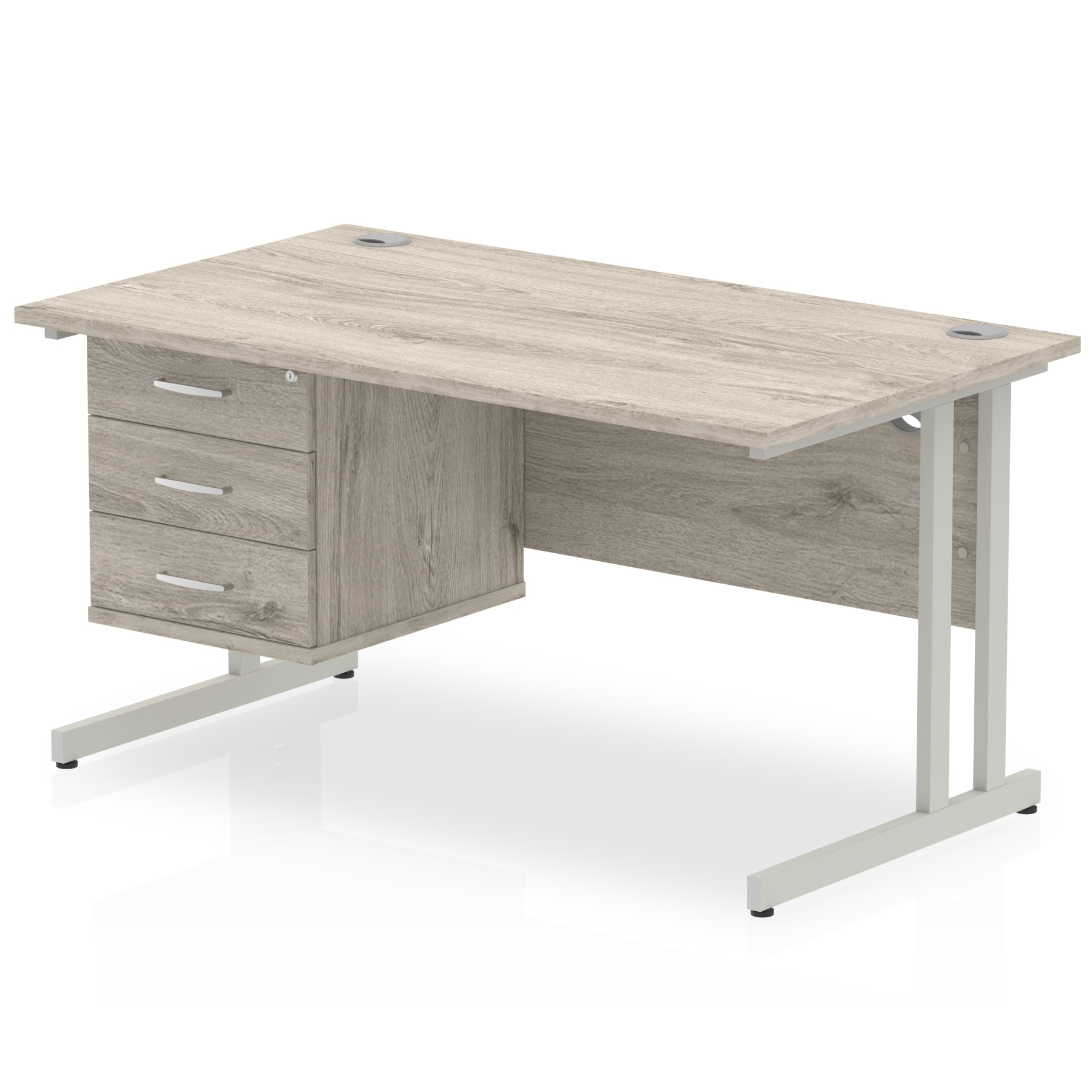 Trexus Rectangular Desk Silver Cantilever Leg 1400x800mm Fixed Ped 3 Drawers Grey Oak Ref I003462