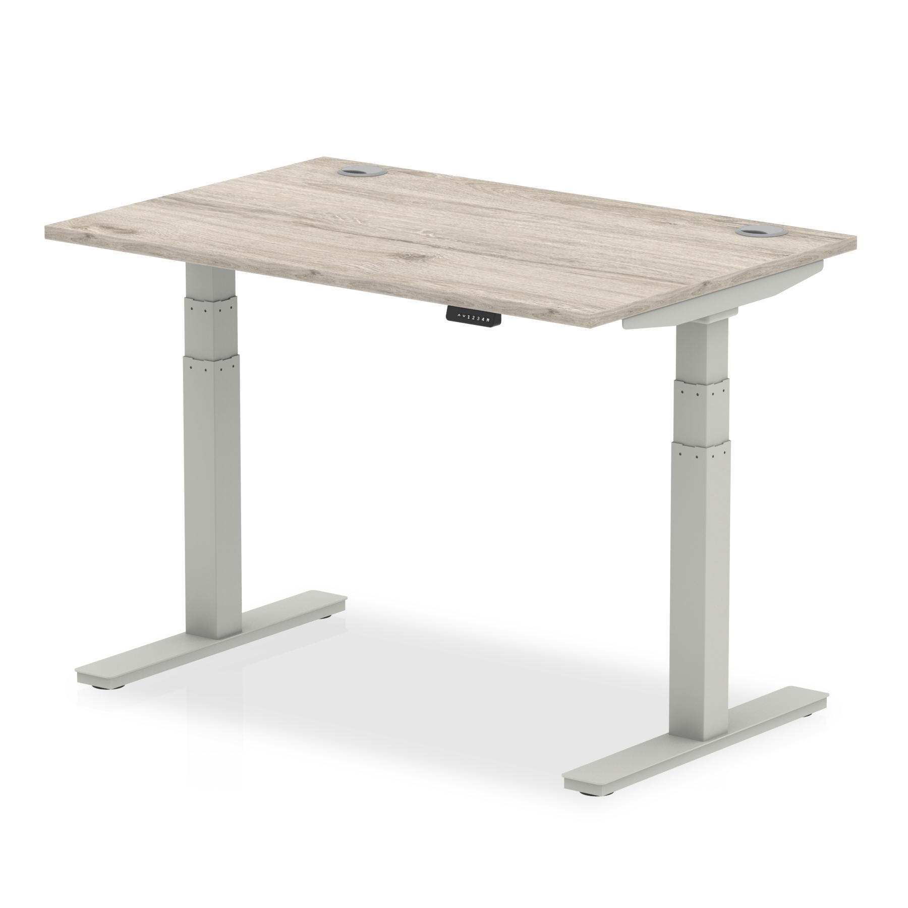Trexus Sit Stand Desk Silver Legs 1200x800mm Grey Oak Ref