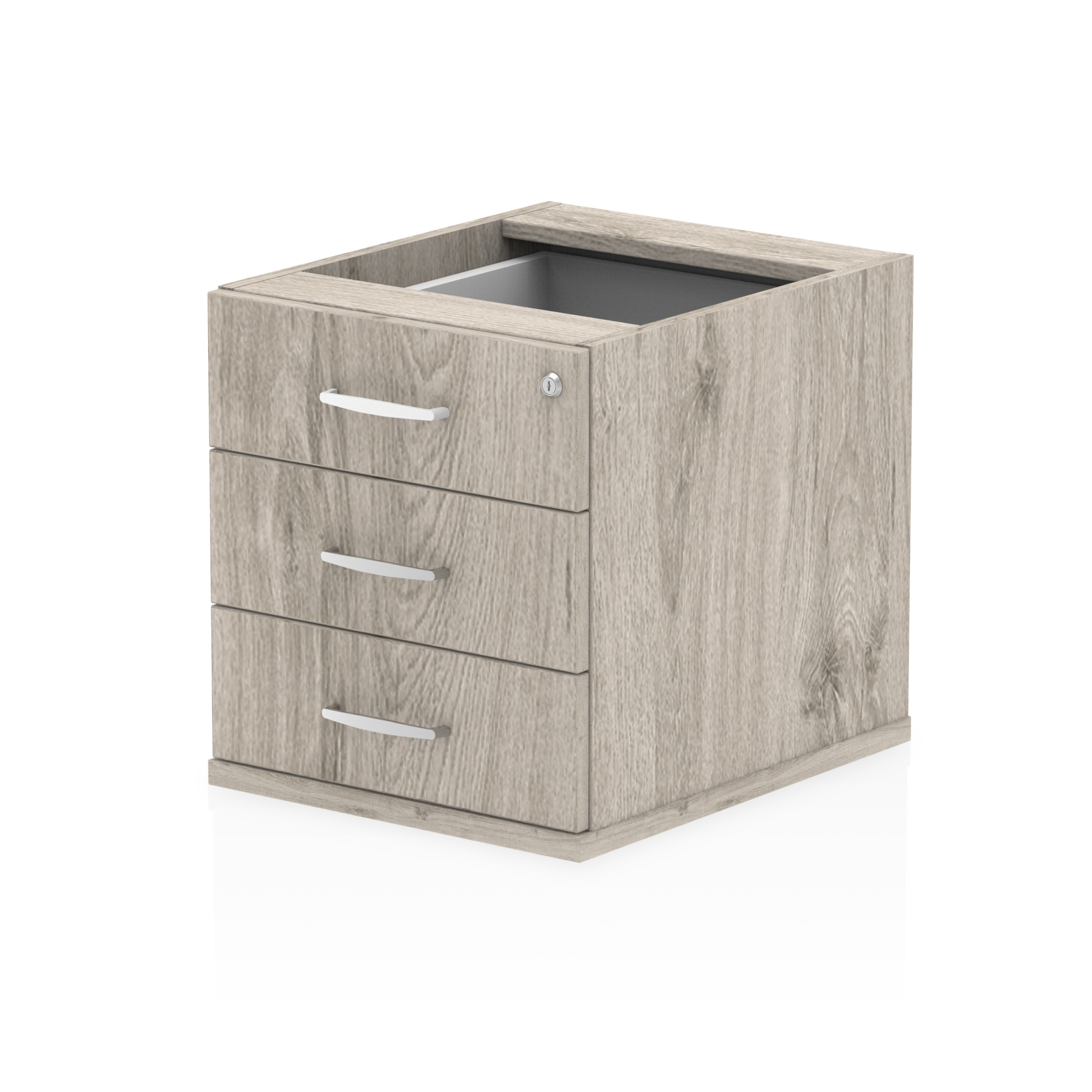 Pedestals Trexus 3 Drawer Fixed Pedestal 426x463x480mm Grey Oak Ref I003220