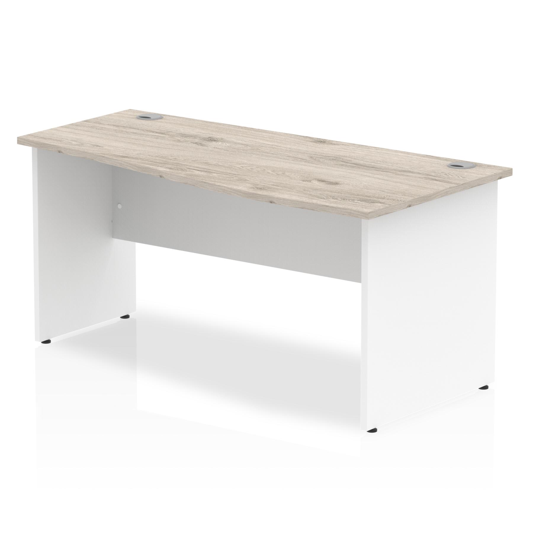 Trexus Wave Desk Right Hand Panel Leg 1600x1000/800x730mm Grey Oak/White Ref TT000160