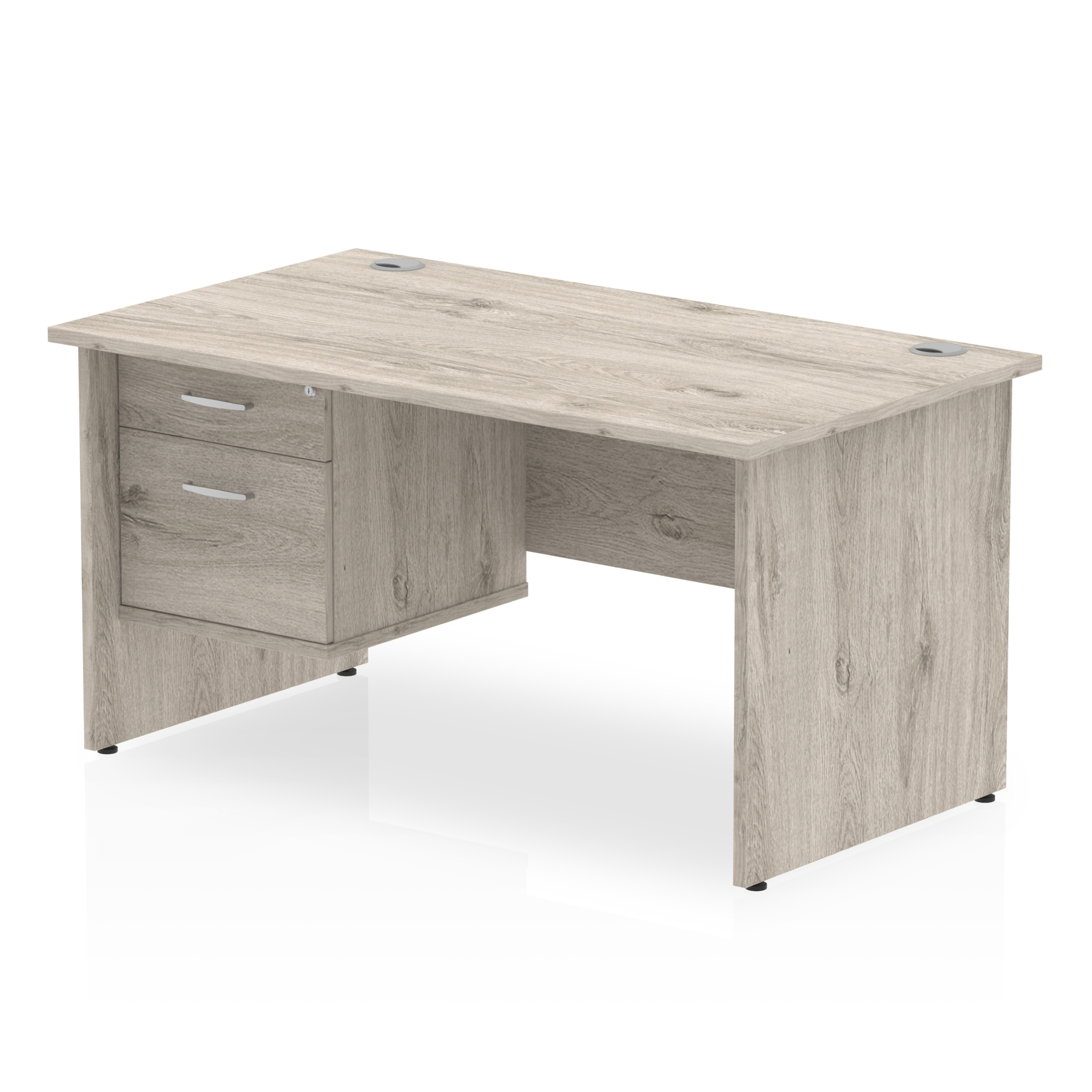 Trexus Rectangular Desk Panel End Leg 1400x800mm Fixed Pedestal 2 Drawers Grey Oak Ref I003451