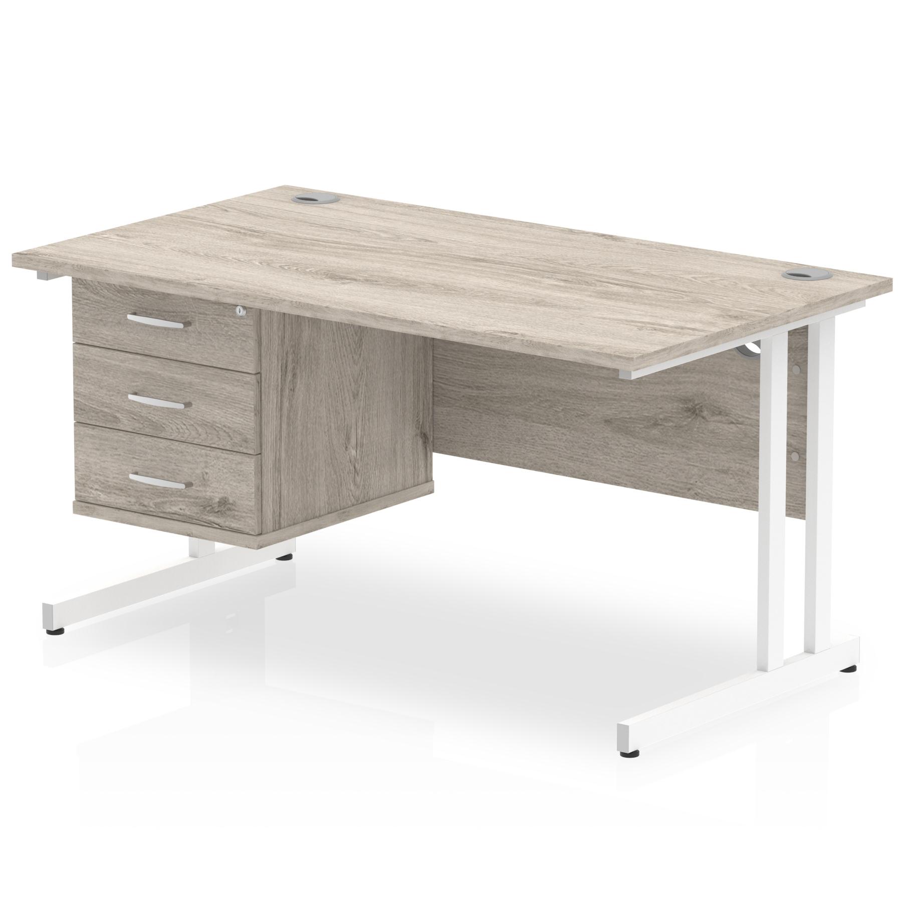 Trexus Rectangular Desk White Cantilever Leg 1400x800mm Fixed Ped 3 Drawers Grey Oak Ref I003472