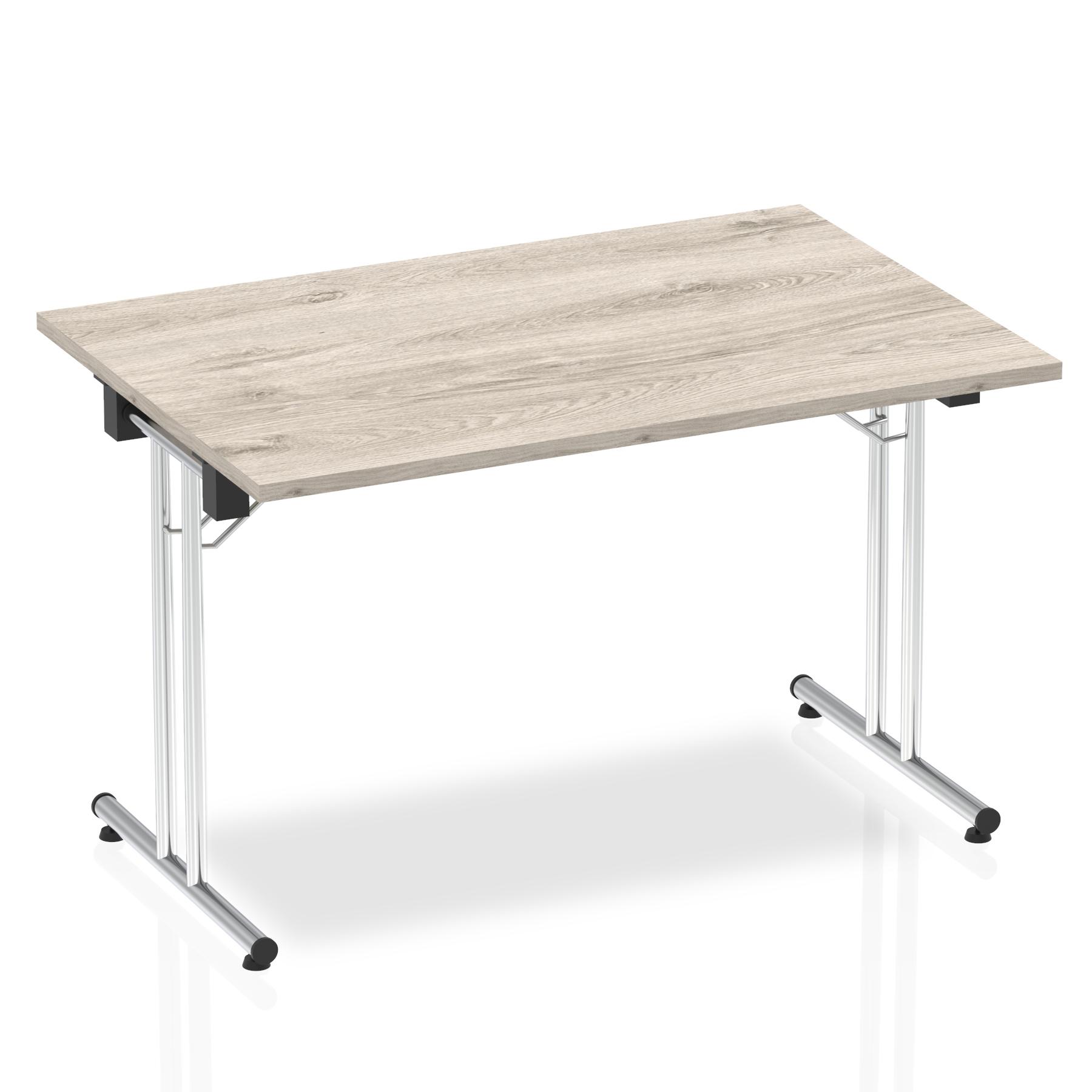 Sonix Rectangular Chrome Leg Folding Meeting Table 1200x800mm Grey Oak Ref