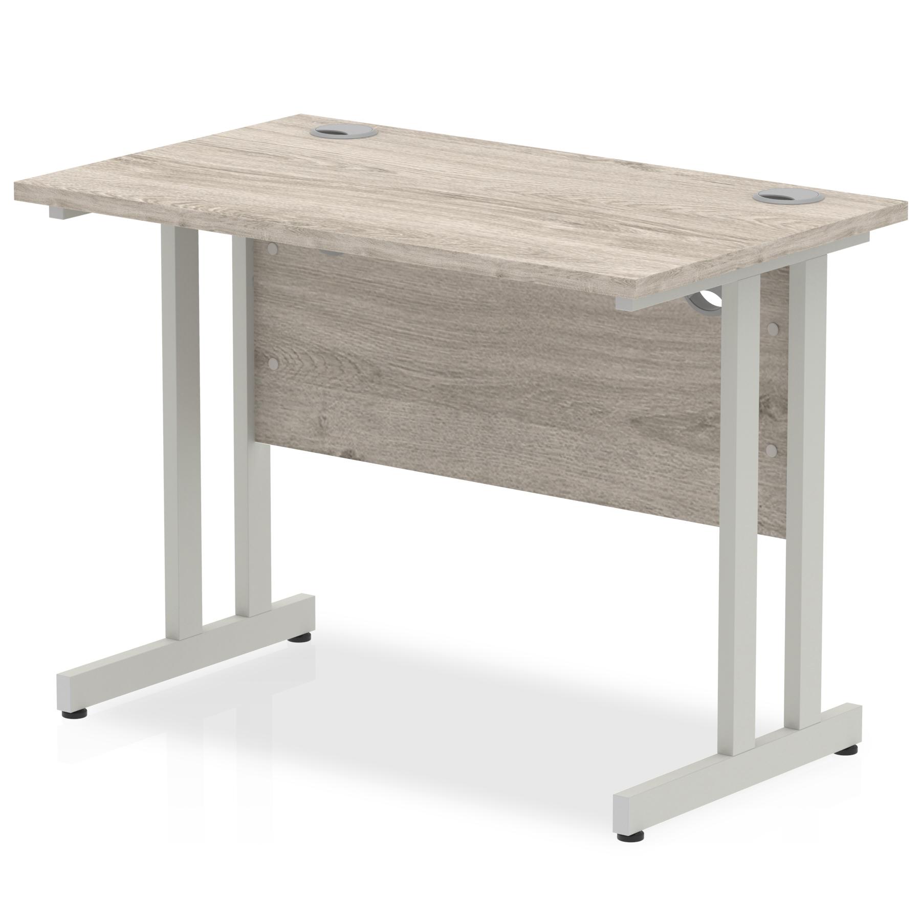 Trexus Rectangular Slim Desk Silver Cantilever Leg 1000x600mm Grey Oak Ref I003063