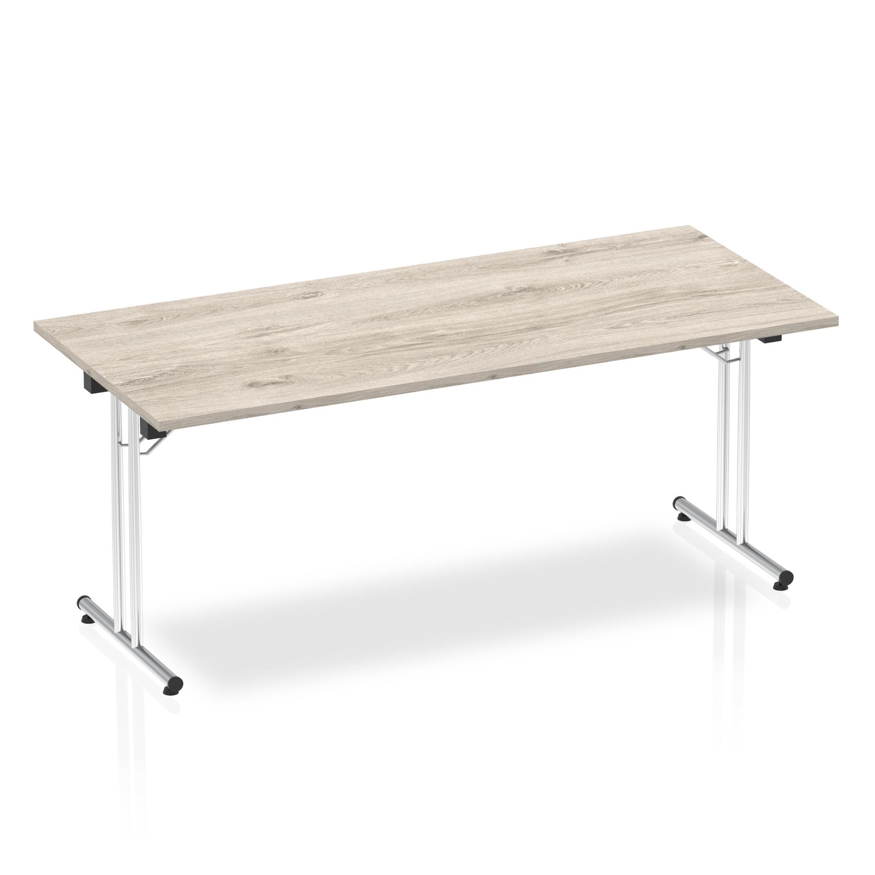 Sonix Rectangular Chrome Leg Folding Meeting Table 1800x800mm Grey Oak Ref