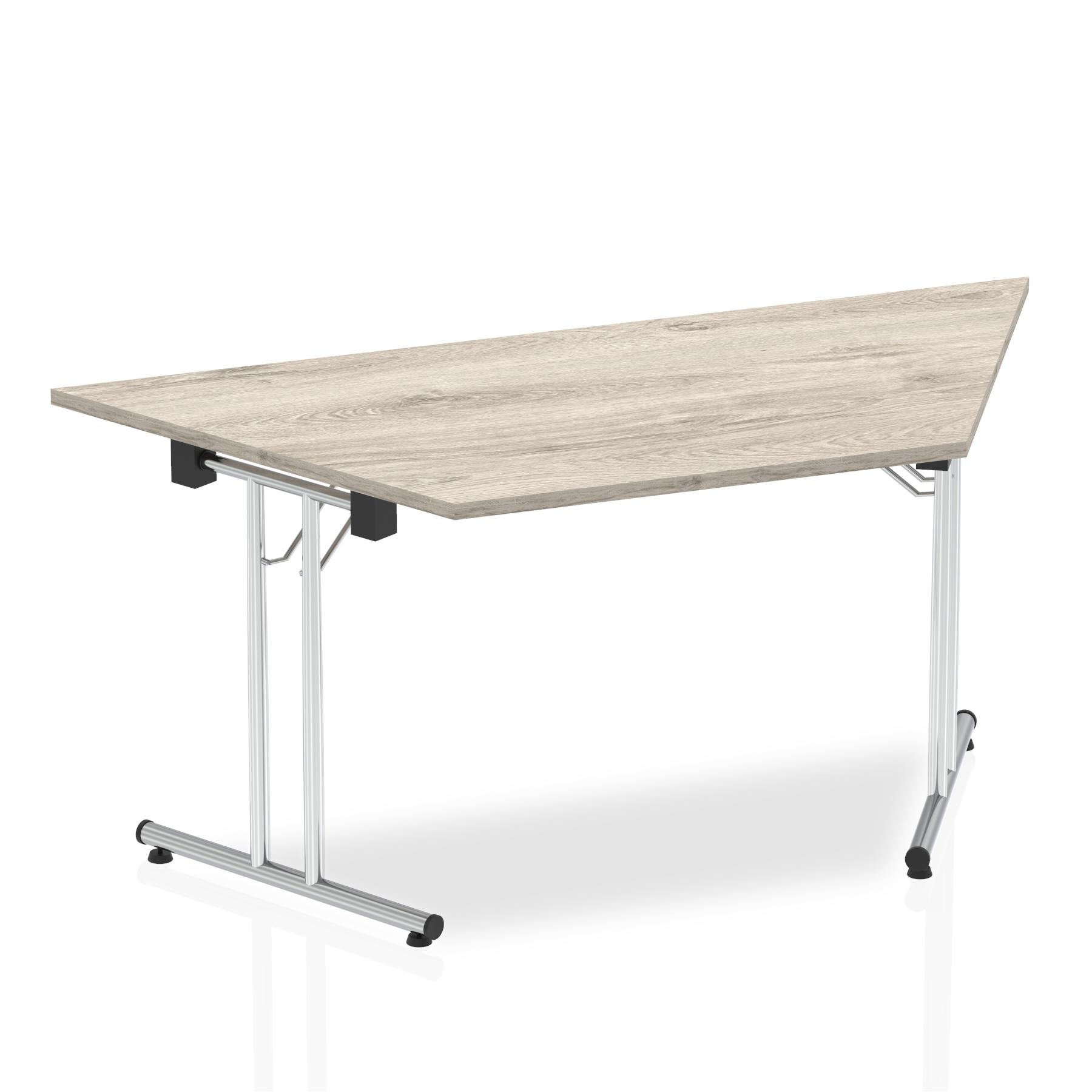 Sonix Trapezoidal Chrome Leg Folding Meeting Table 1600x800mm Grey Oak Ref