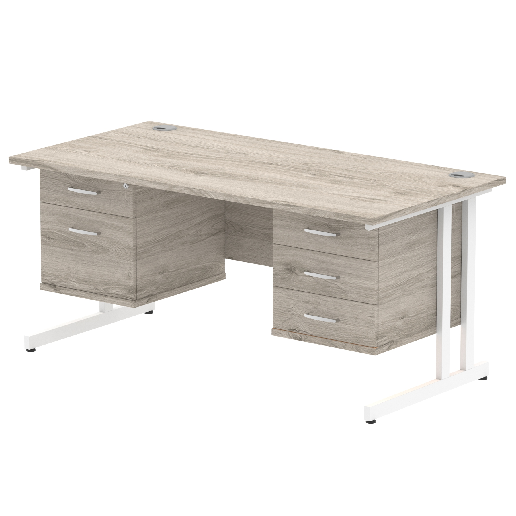 Trexus Rectangular Desk White Cantilever Leg 1600x800mm Double Fixed Ped 2&3 Drawer Grey Oak Ref I003495