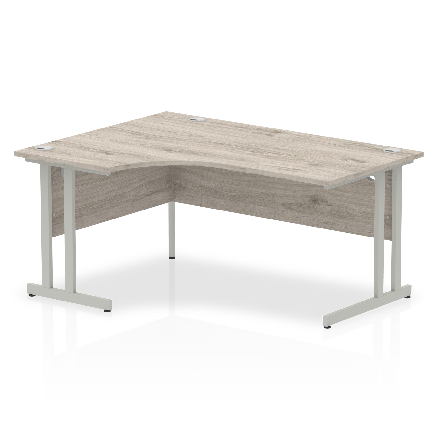Trexus Radial Desk Left Hand Silver Cantilever Leg 1600mm Grey Oak Ref I003136