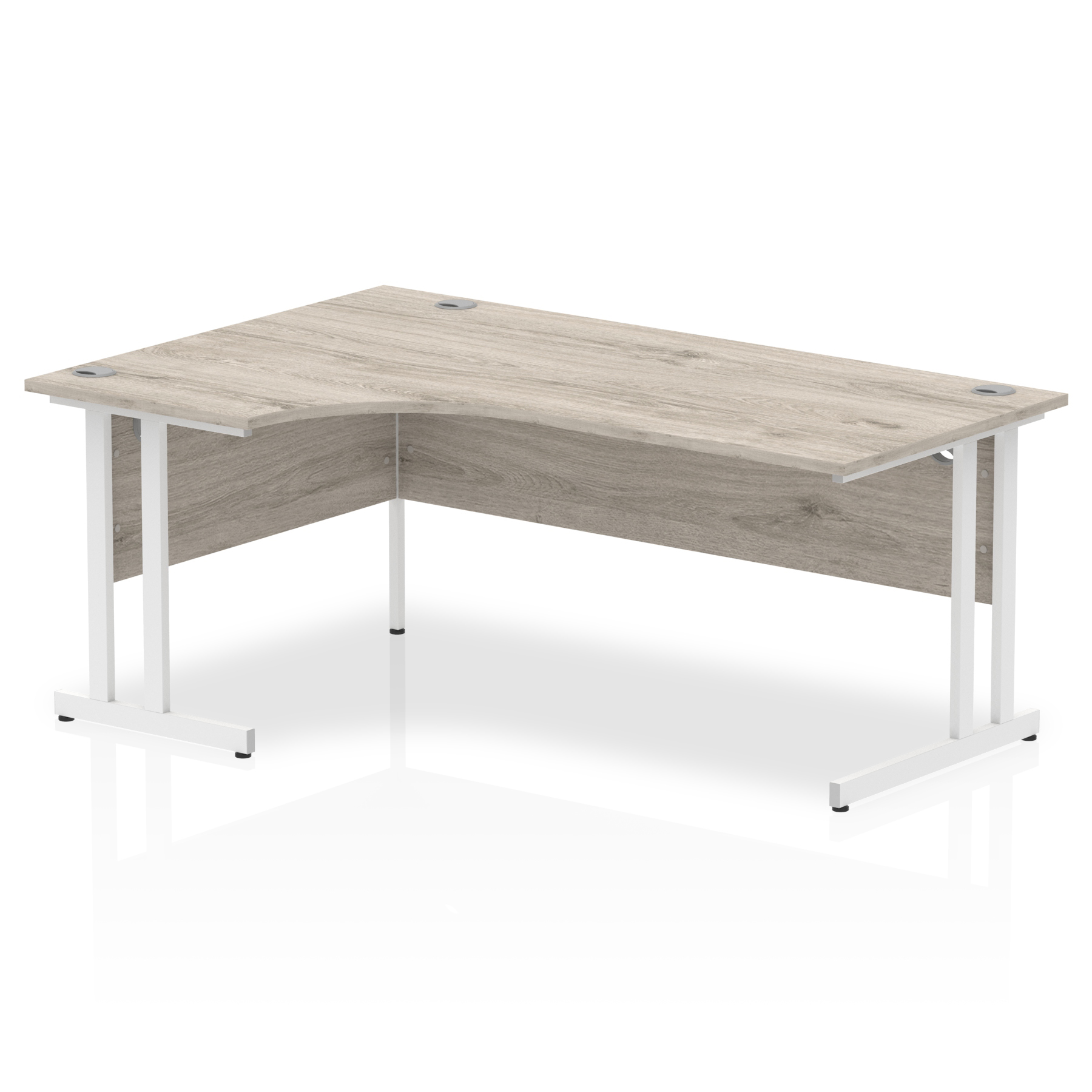 Trexus Radial Desk Left Hand White Cantilever Leg 1800mm Grey Oak Ref I003528