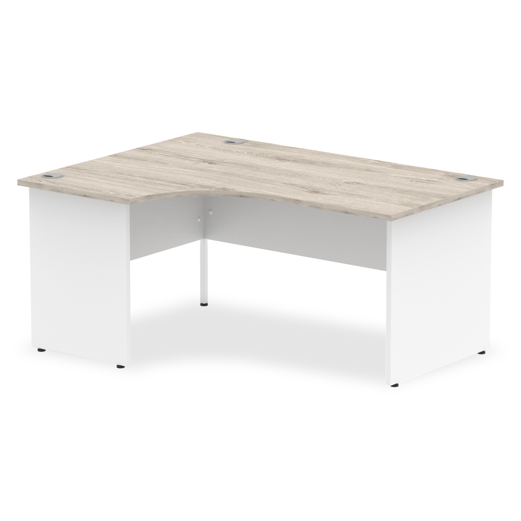 Trexus Radial Desk Left Hand Panel End Leg 1600/800mm Grey Oak/White Ref TT000161