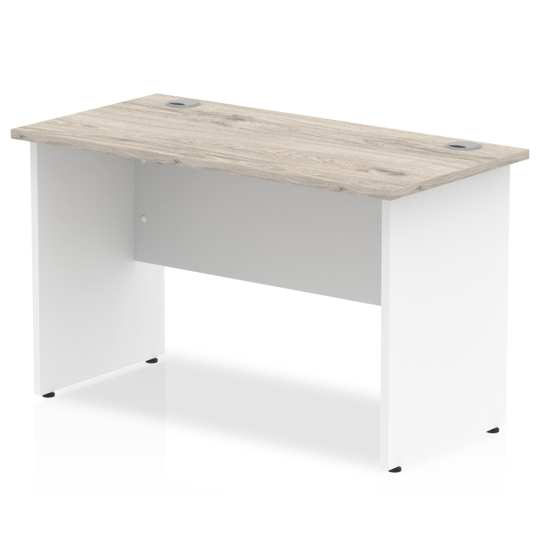 Desks Trexus Slim Rectangular Desk Panel End Leg 1200x600mm Grey Oak/White Ref TT000149