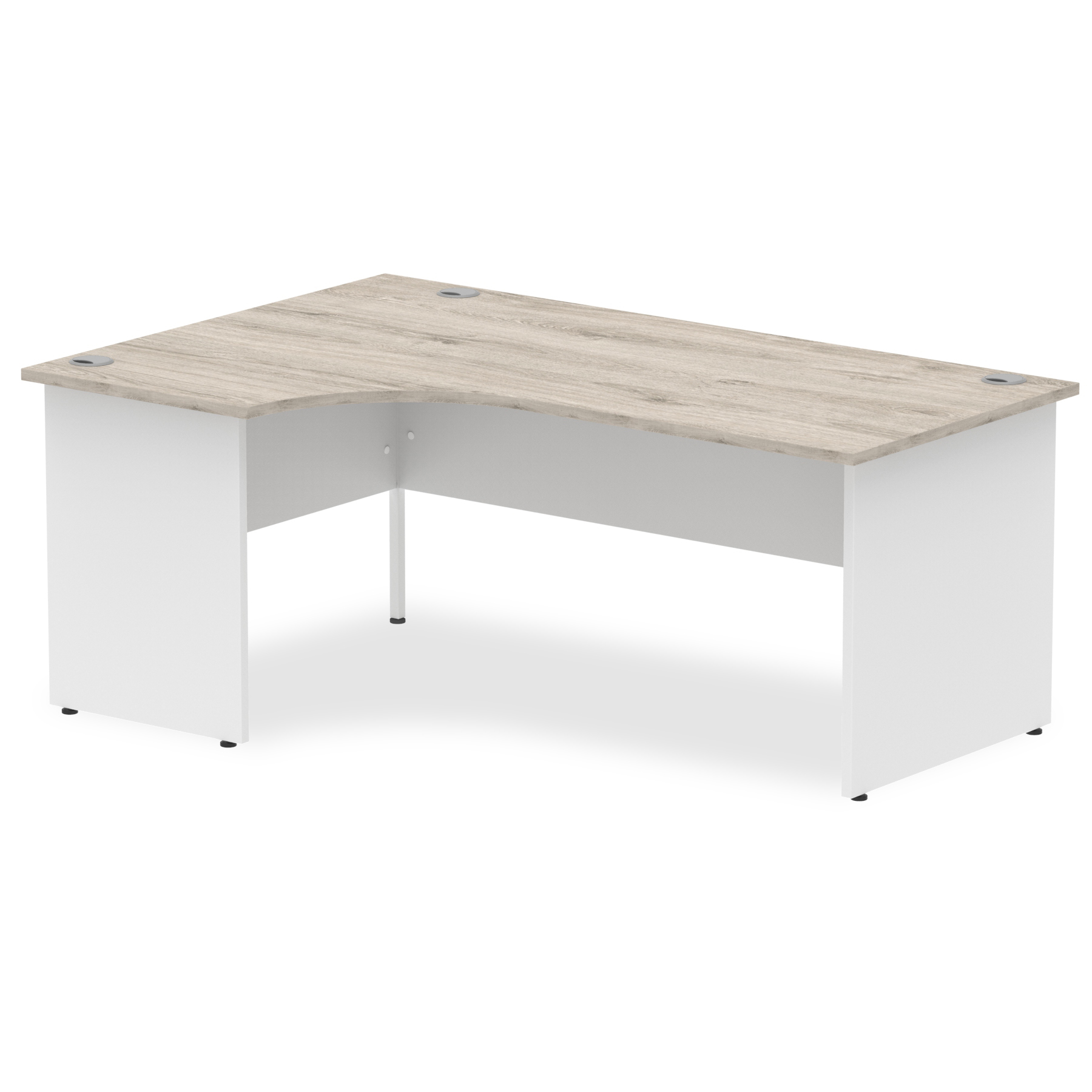 Desks Trexus Radial Desk Left Hand Panel End Leg 1800/800mm Grey Oak/White Ref TT000163