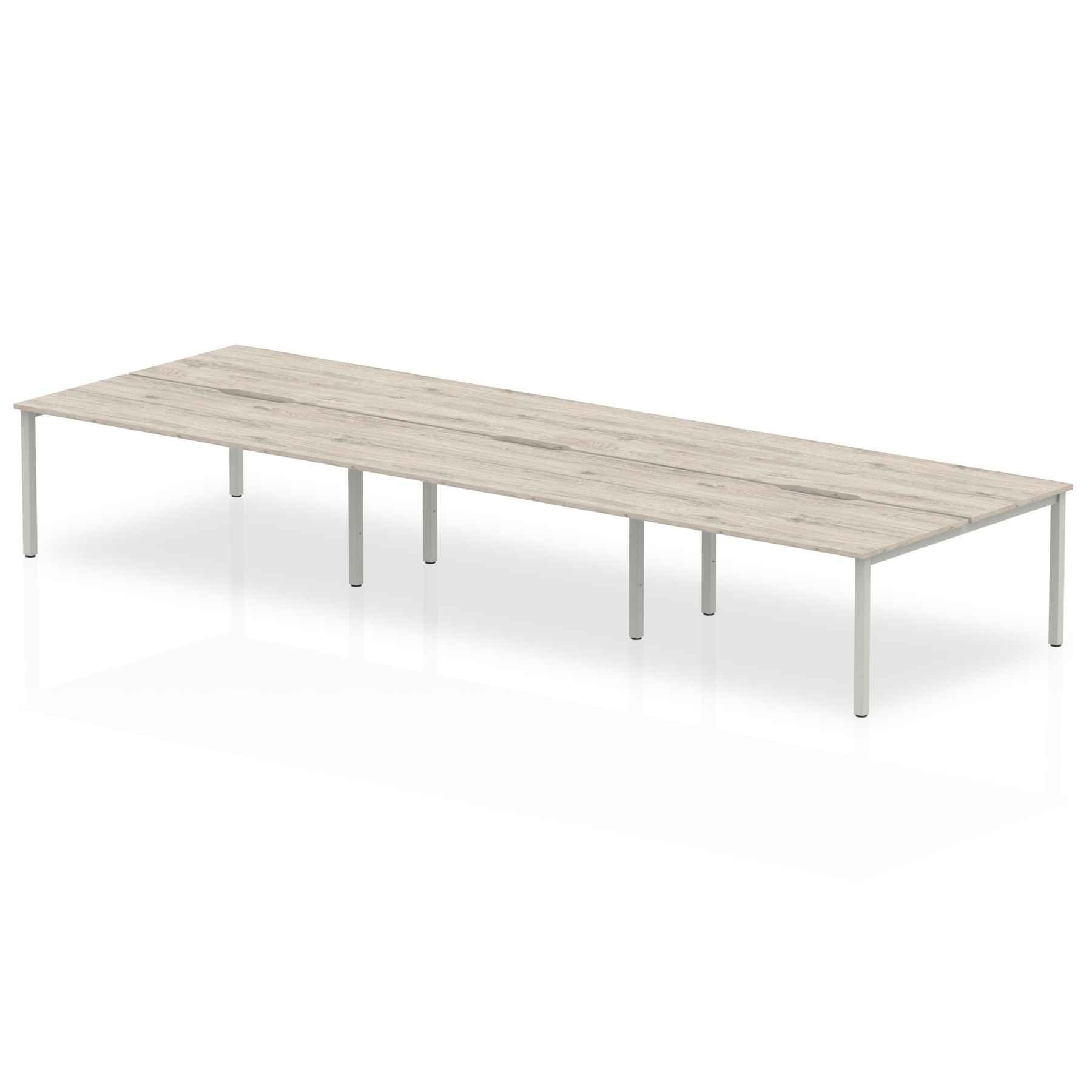 Desks Trexus Bench Desk 6 Person Back to Back Configuration Silver Leg 3600x1600mm Grey Oak Ref BE753
