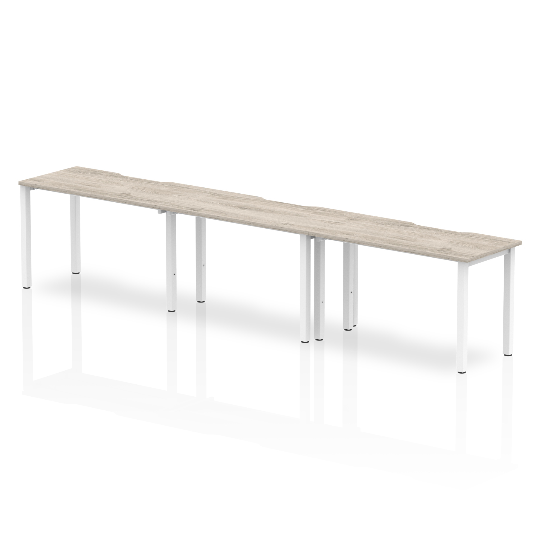 Desks Trexus Bench Desk 3 Person Side to Side Configuration White Leg 3600x800mm Grey Oak Ref BE772