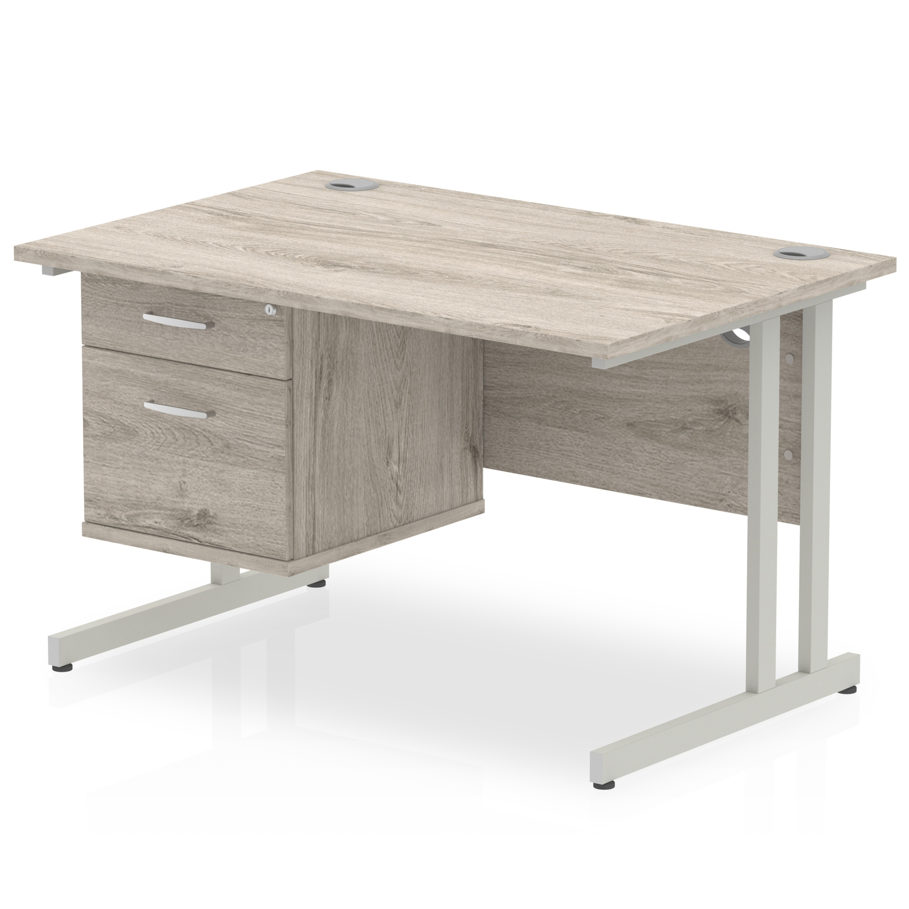 Desks Trexus Rectangular Desk Silver Cantilever Leg 1200x800mm Fixed Ped 2 Drawers Grey Oak Ref I003436