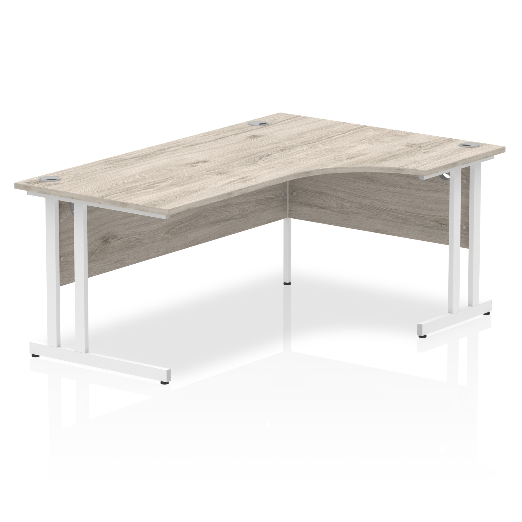 Desks Trexus Radial Desk Right Hand White Cantilever Leg 1800mm Grey Oak Ref I003529