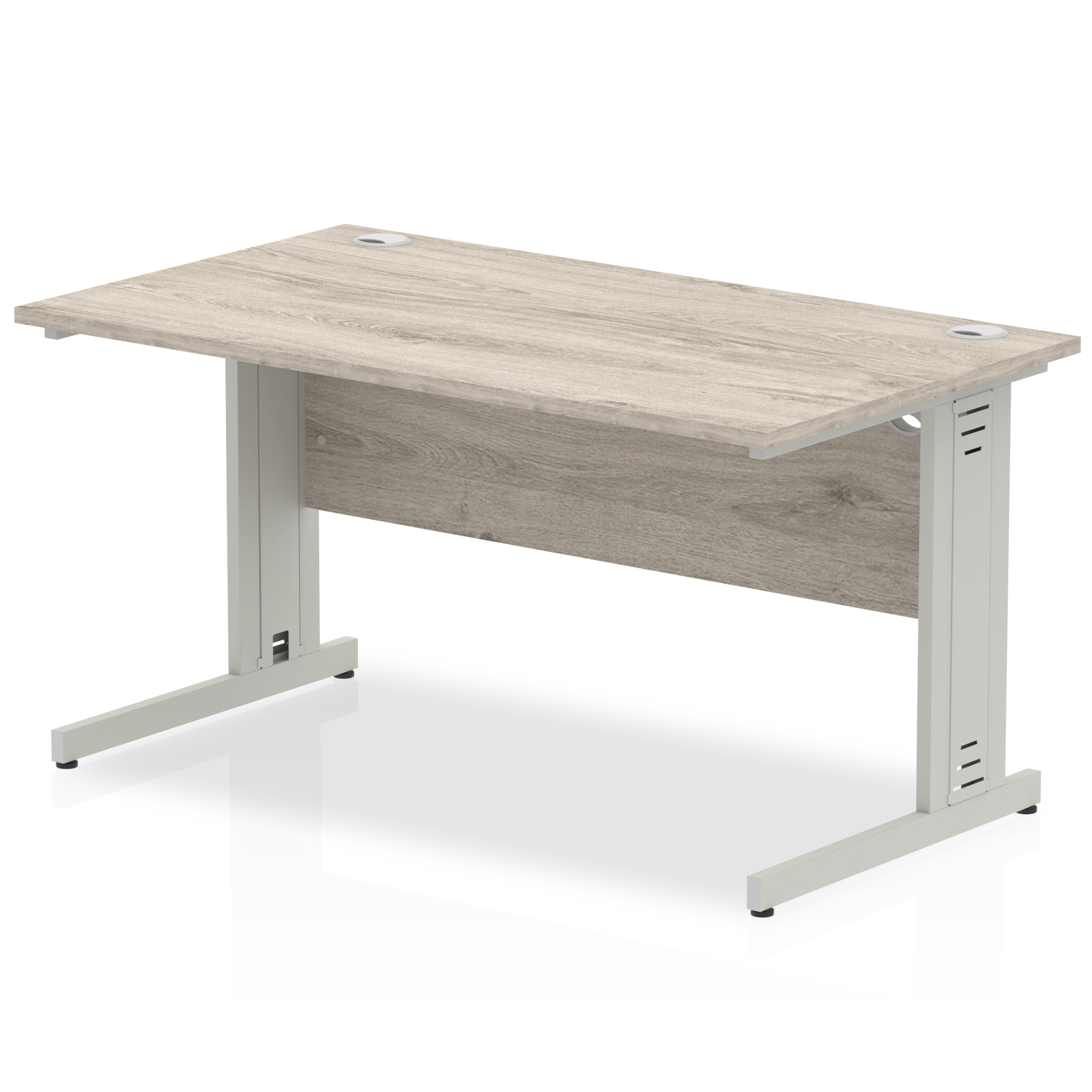 Desks Trexus Rectangular Desk Silver Cable Managed Leg 1400x800mm Grey Oak Ref I003102