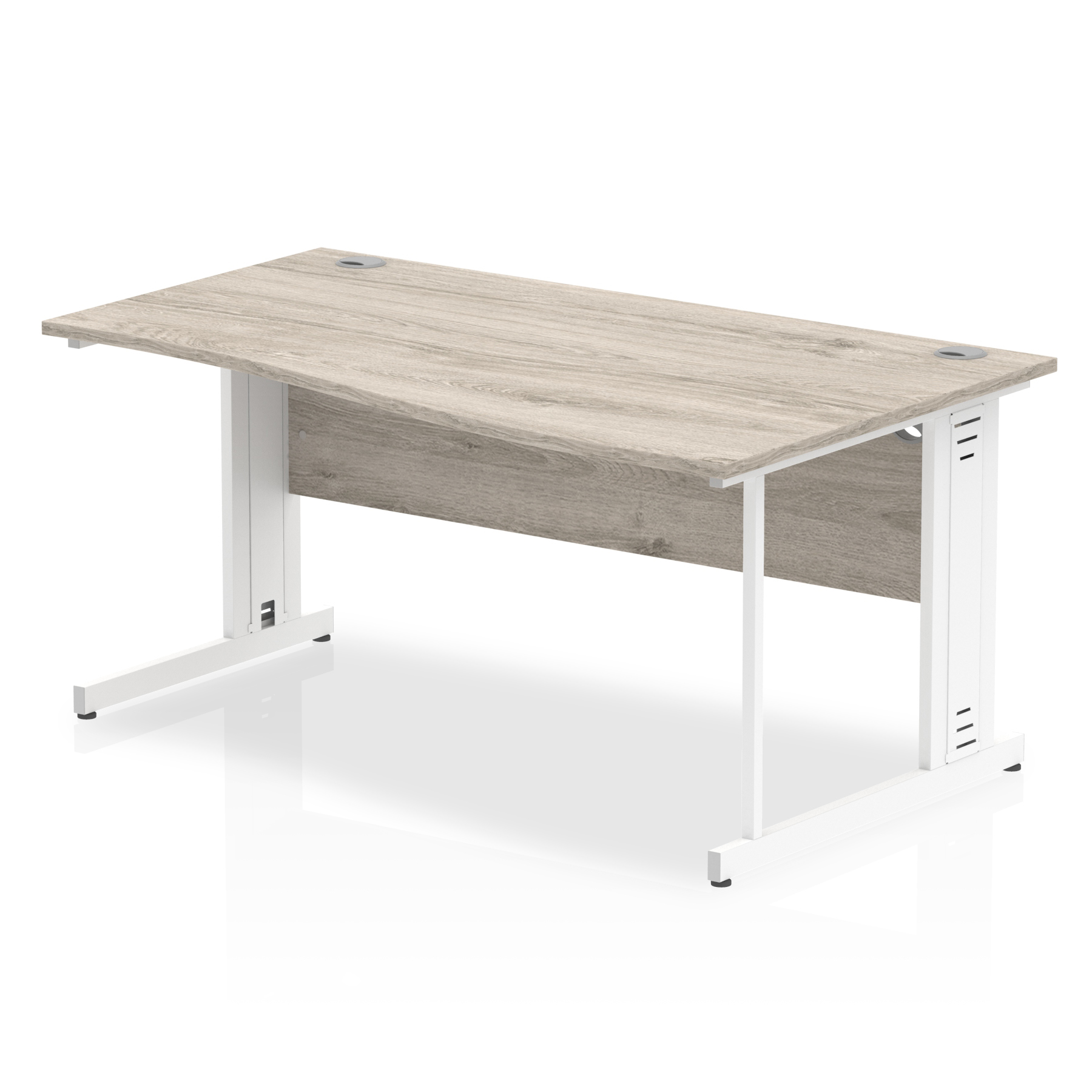 Desks Trexus Wave Desk Right Hand White Cable Managed Leg 1600mm Grey Oak Ref I003129