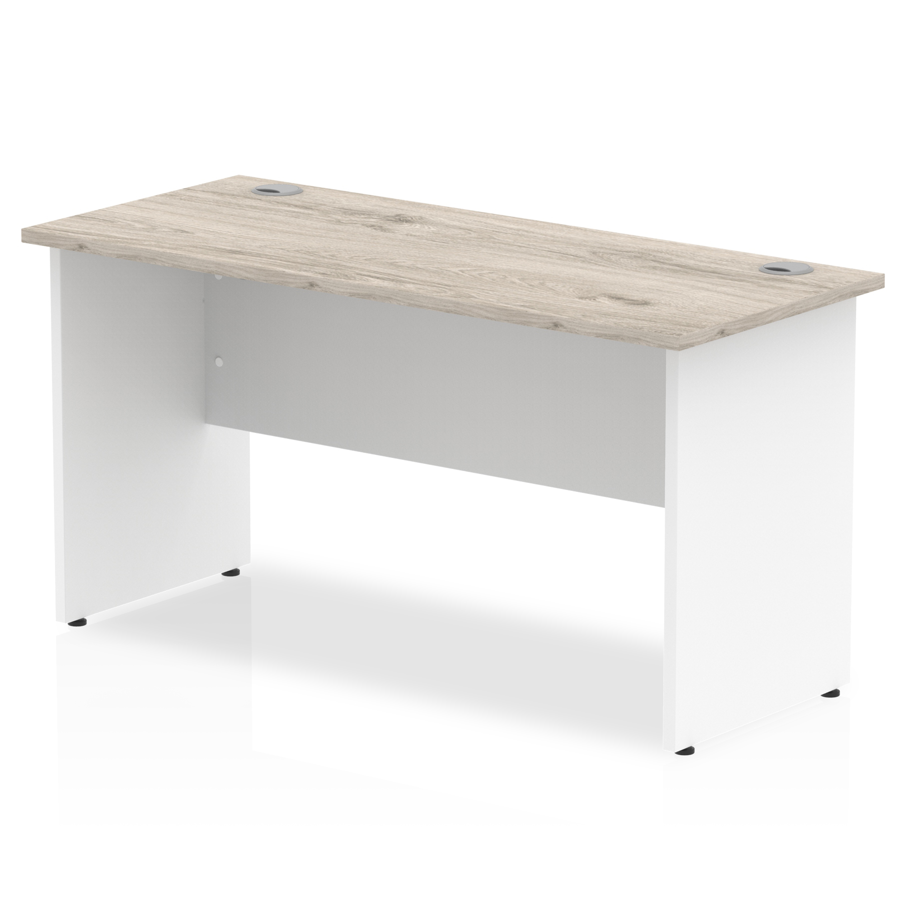 Desks Trexus Slim Rectangular Desk Panel End Leg 1400x600mm Grey Oak/White Ref TT000150